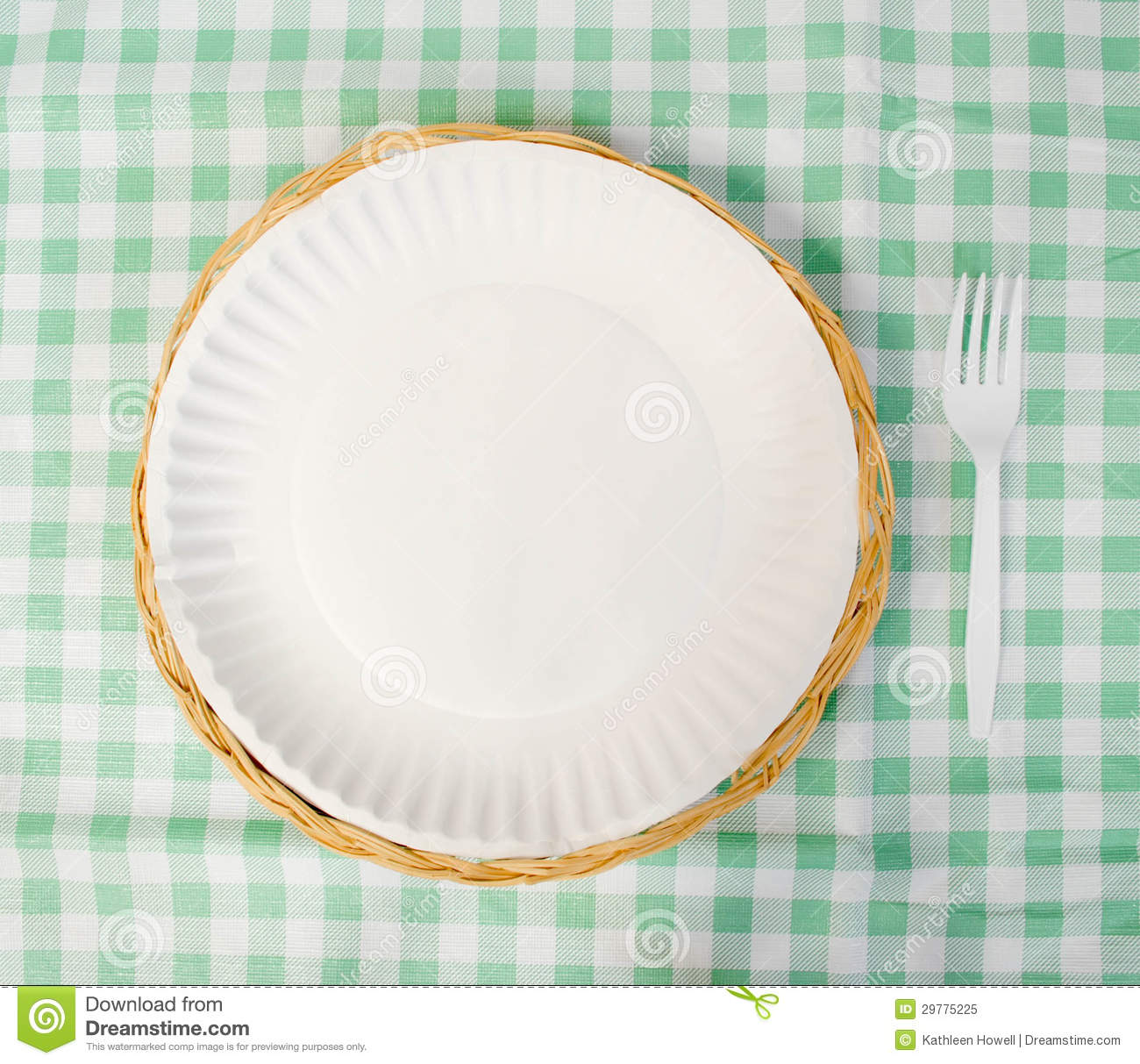 Picnic place setting, paper plate with plastic fork on a tablecloth.