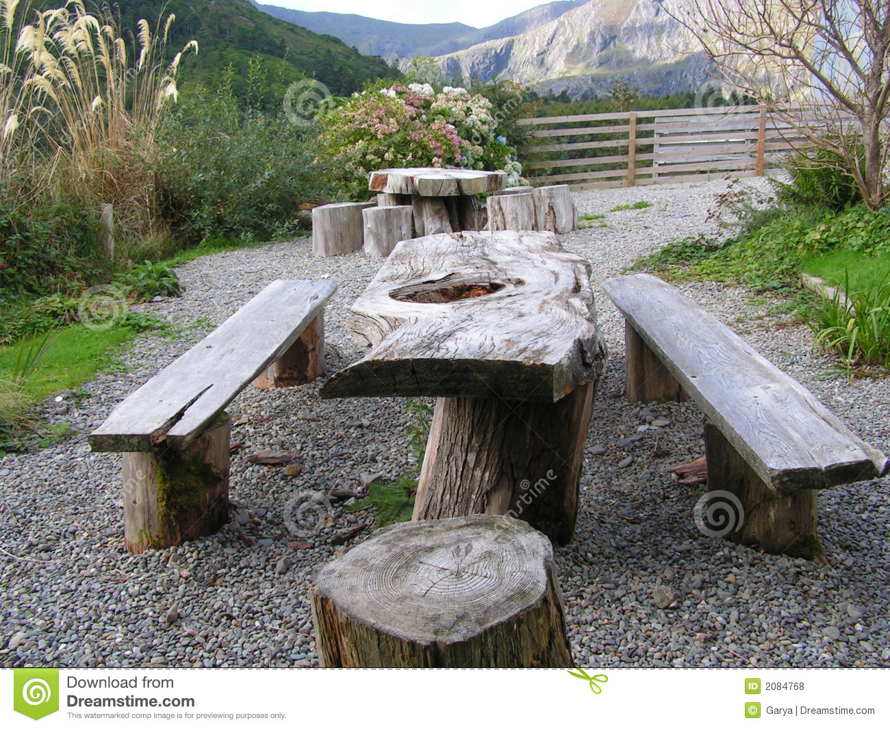 Picnic seating area. stock photo. Image of wood, seat ...
