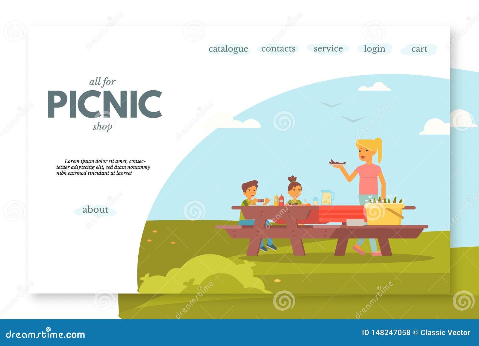 Picnic shop flat landing page vector template
