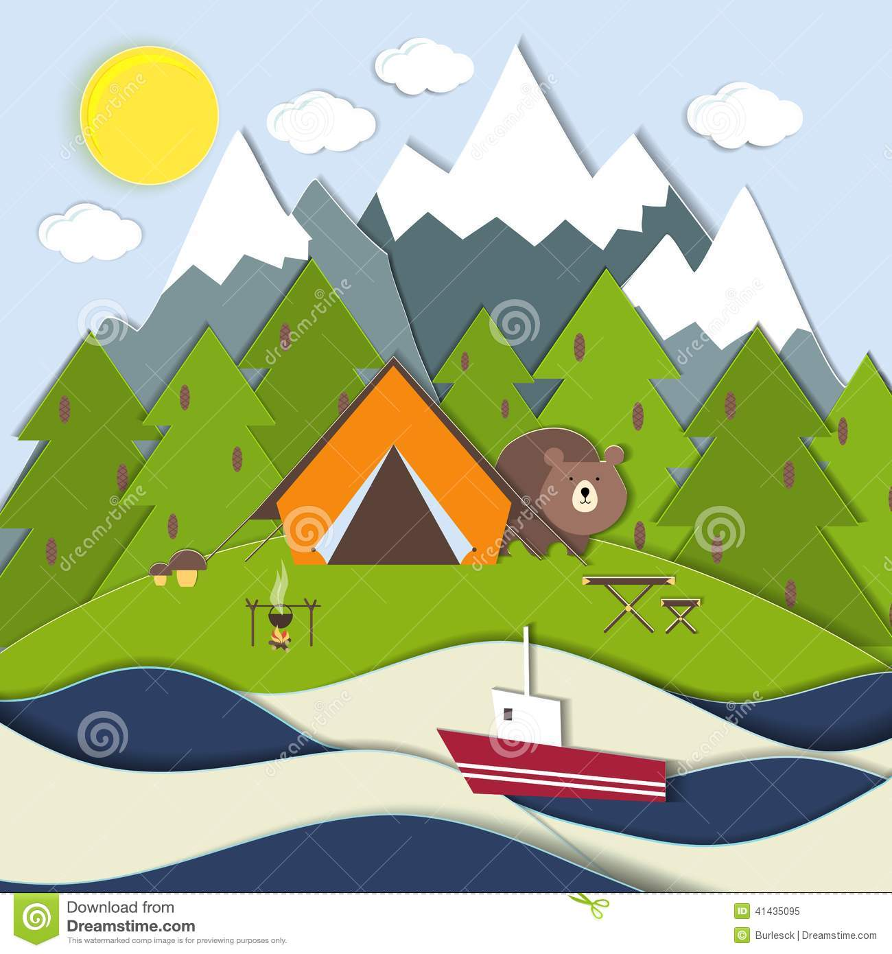 ... lake with a bear peeking around the tent at a fishing boat and snow