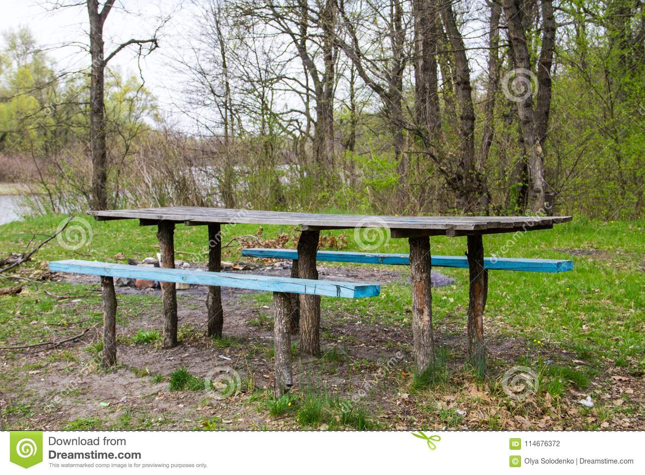 Astonishing Picnic Site Wooden Table And Benches In Forest Park Stock Frankydiablos Diy Chair Ideas Frankydiabloscom