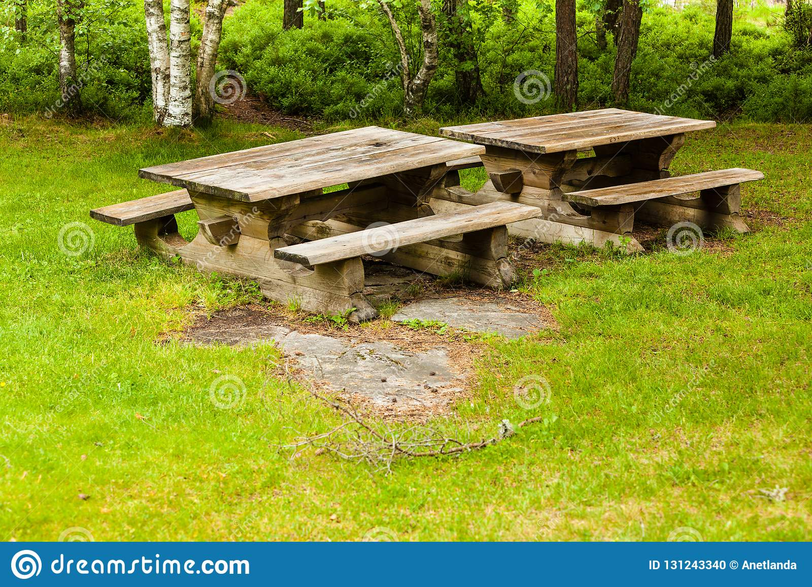 Swell Camp Site With Picnic Table In Norwegian Park Stock Photo Frankydiablos Diy Chair Ideas Frankydiabloscom