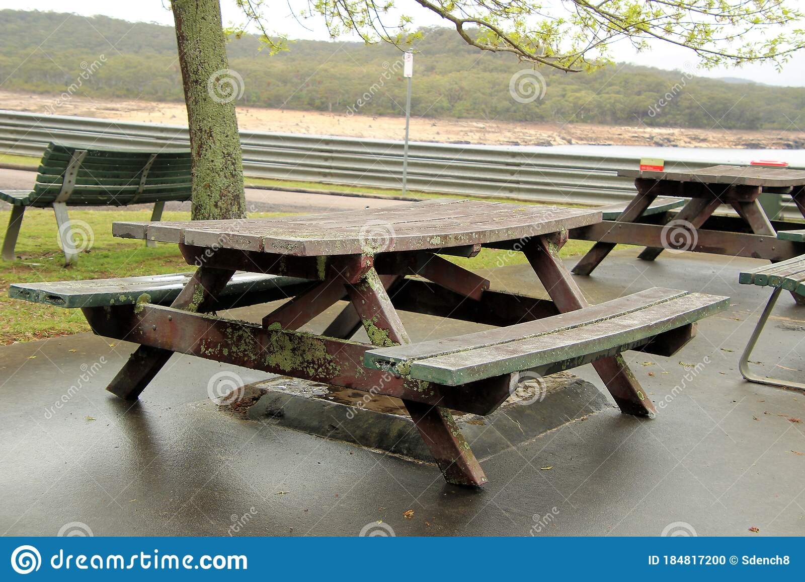 Picture of: Picnic Spot With Tables And Bench Seats Overgrown With Lichen Stock Photo Image Of Tables Lichen 184817200