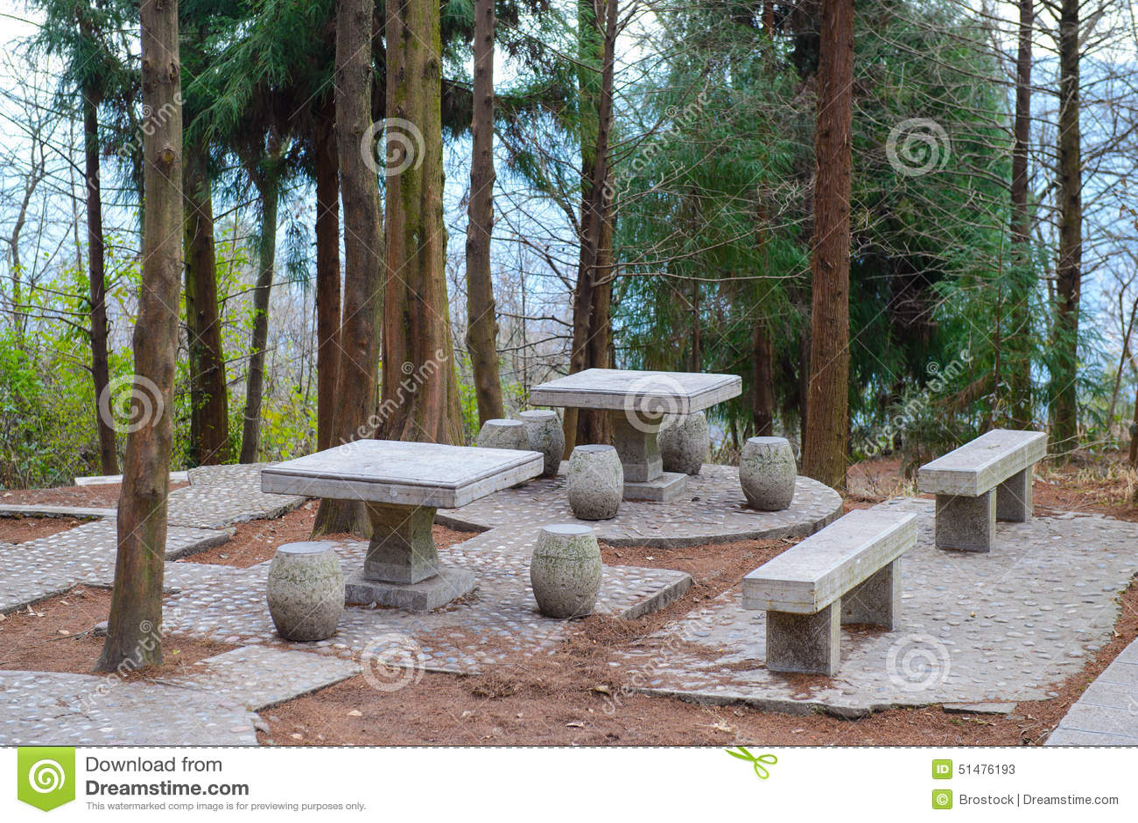 Backyard Benches Patio Picnic Stone Tables ...