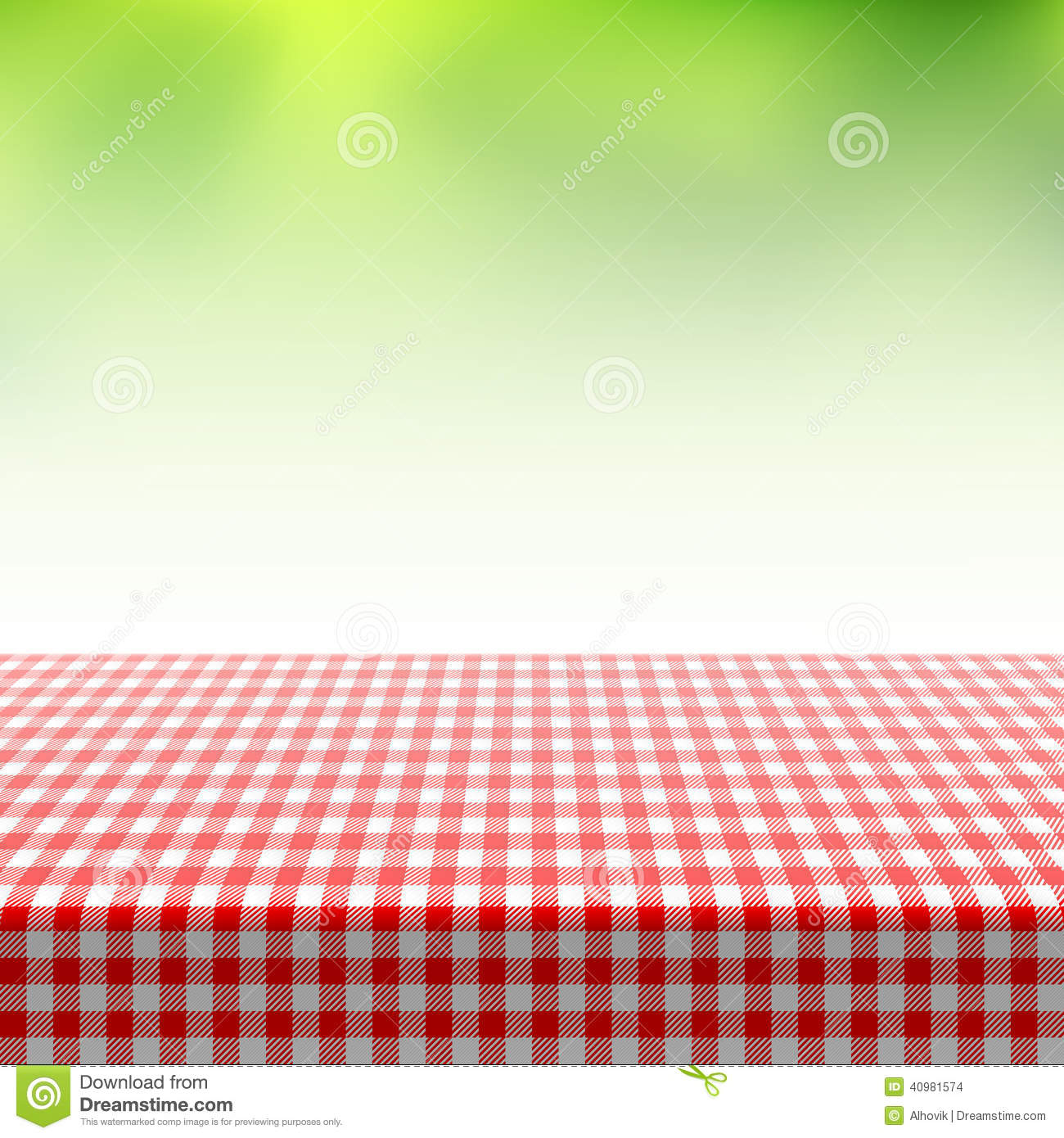 Picnic Table Covered With Checkered Tablecloth Stock ...