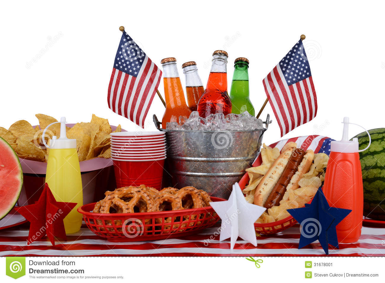 picnic table fourth of july theme stock image image 31678001. Black Bedroom Furniture Sets. Home Design Ideas