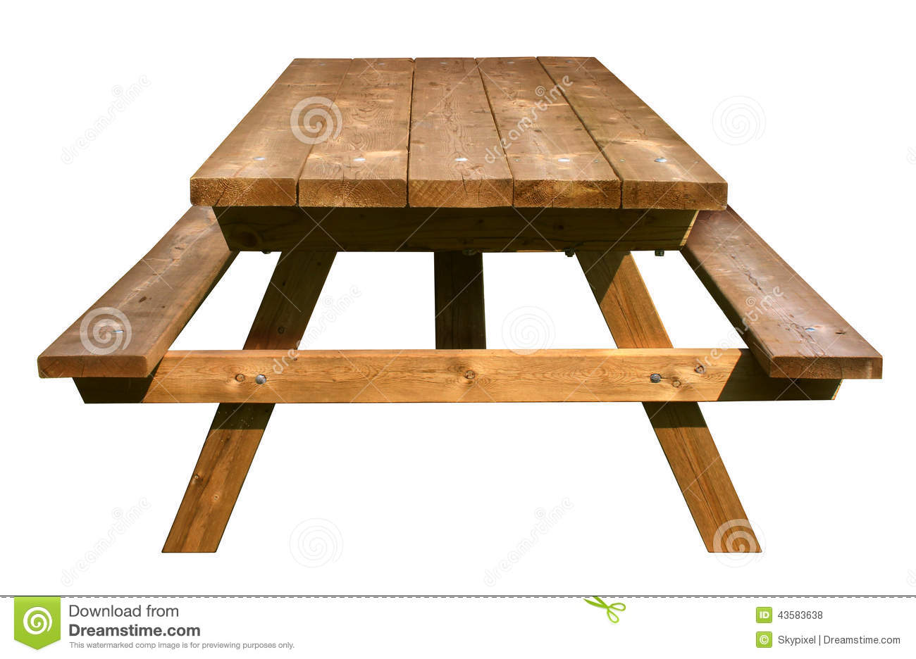 Picnic Table Front View Stock Photo - Image: 43583638