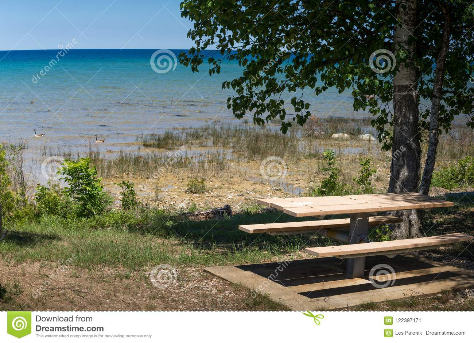 Picnic Table At Lake Michigan Stock Image Image Of Peninsula - Picnic table michigan