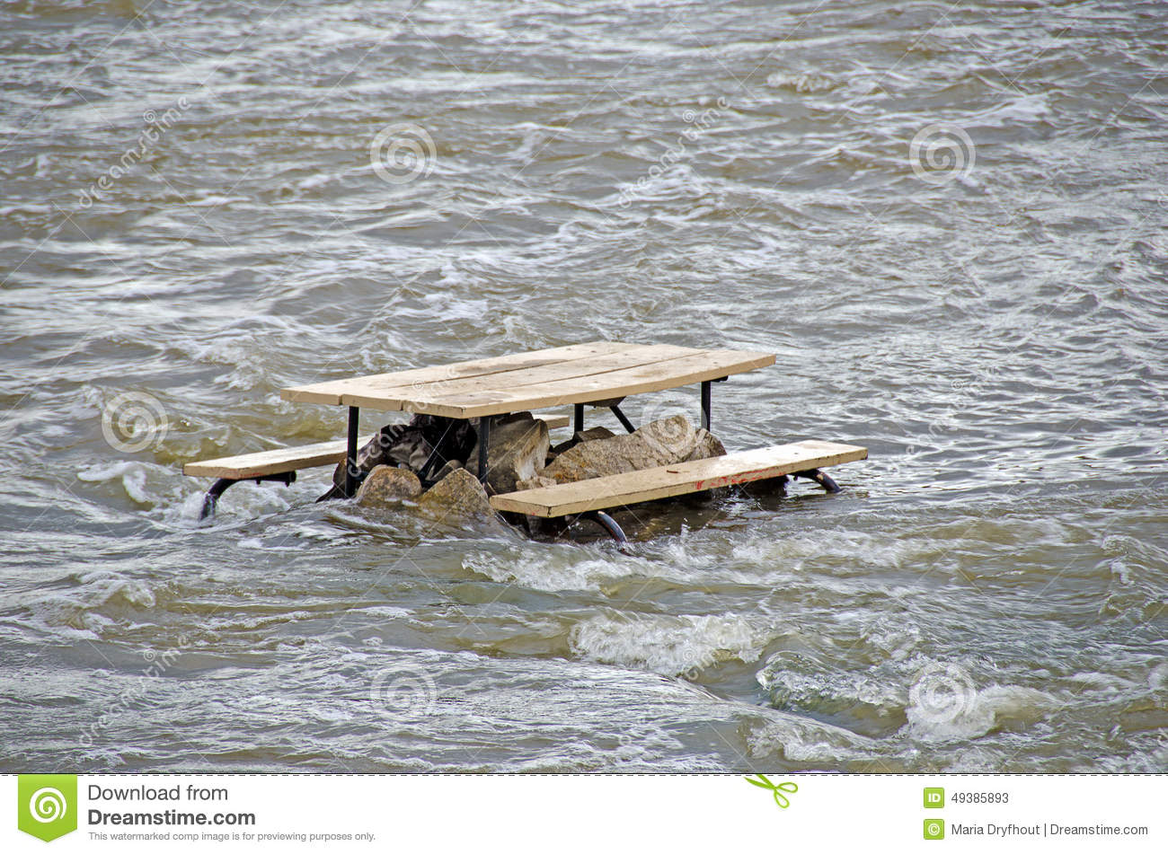Picnic Table In River Rapids Stock Image Image Of Wooden Rock - Picnic table raft