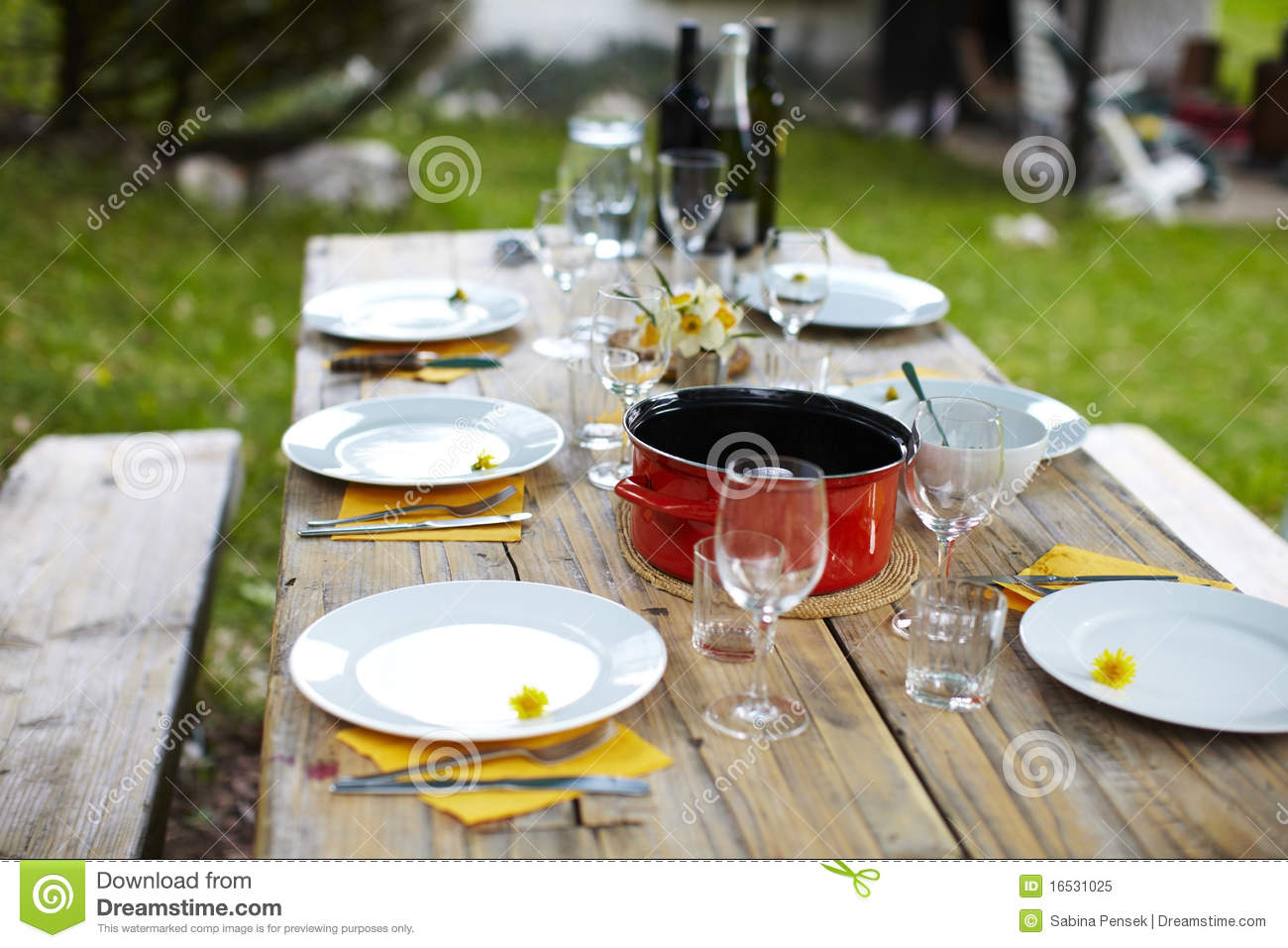 Picnic table set for lunch