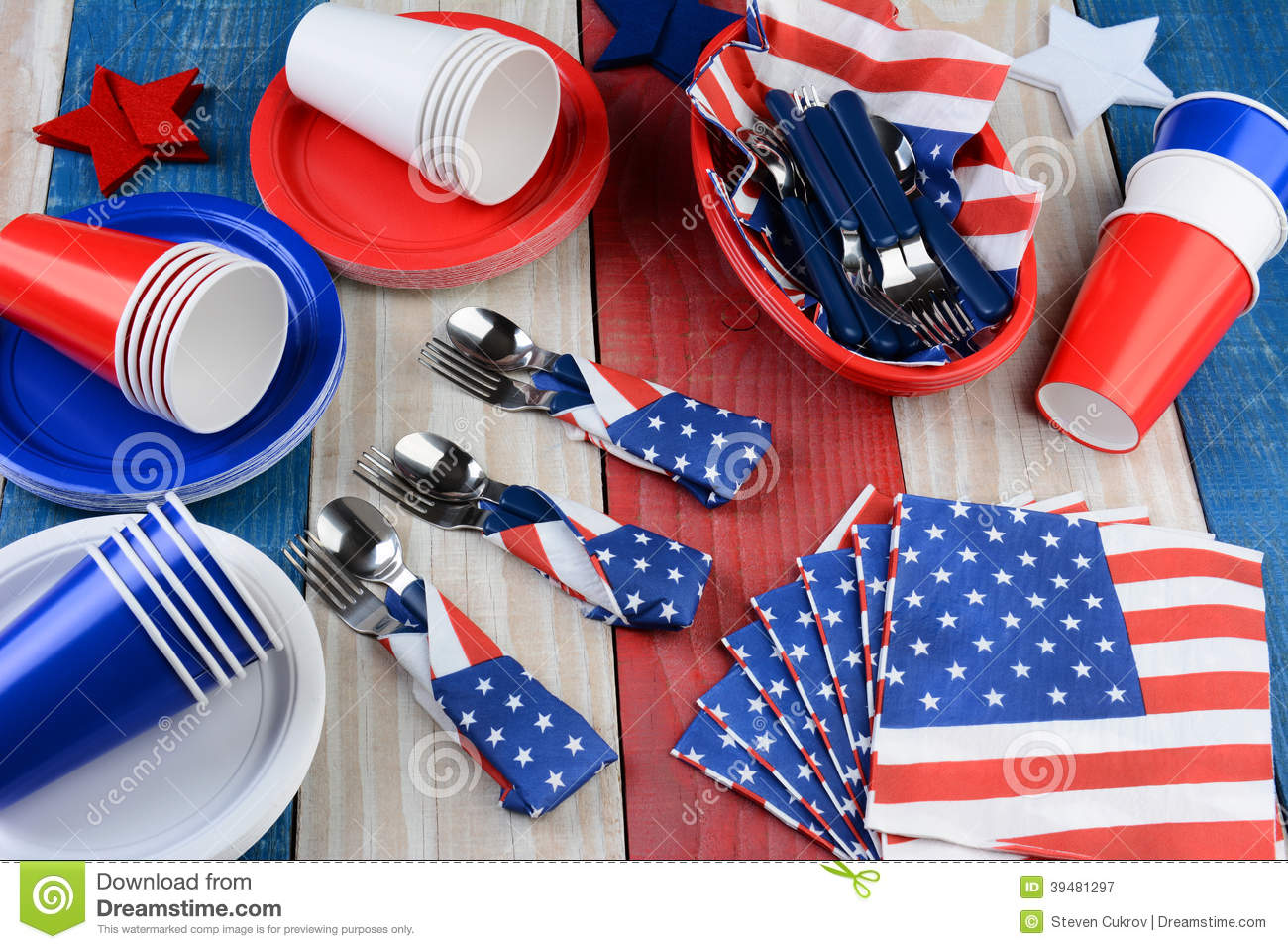 Picnic Table Setting Fourth Of July Stock Image Image Of