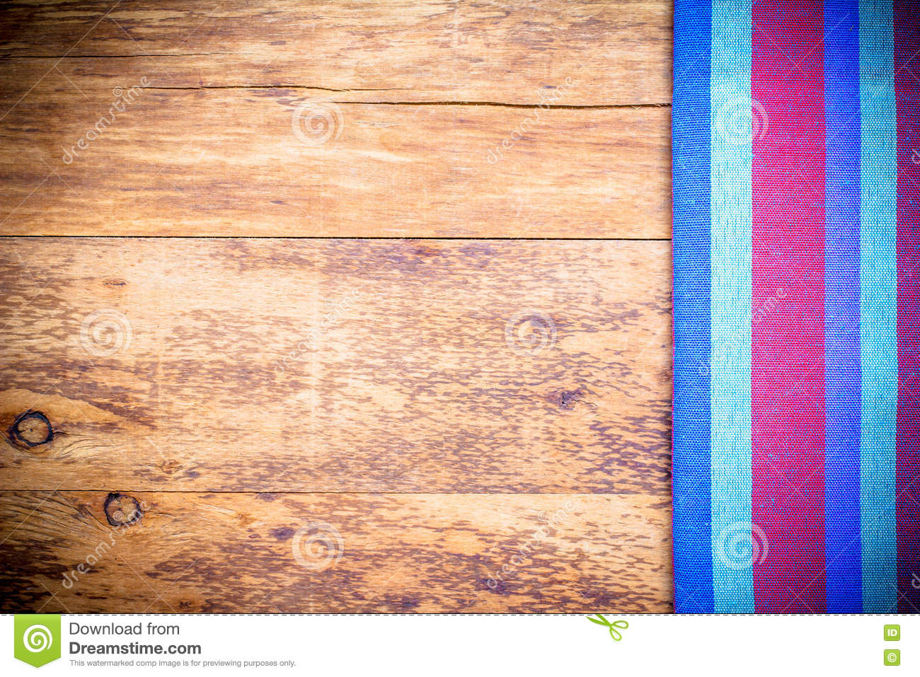 Picnic tablecloth old wooden table top view stock images