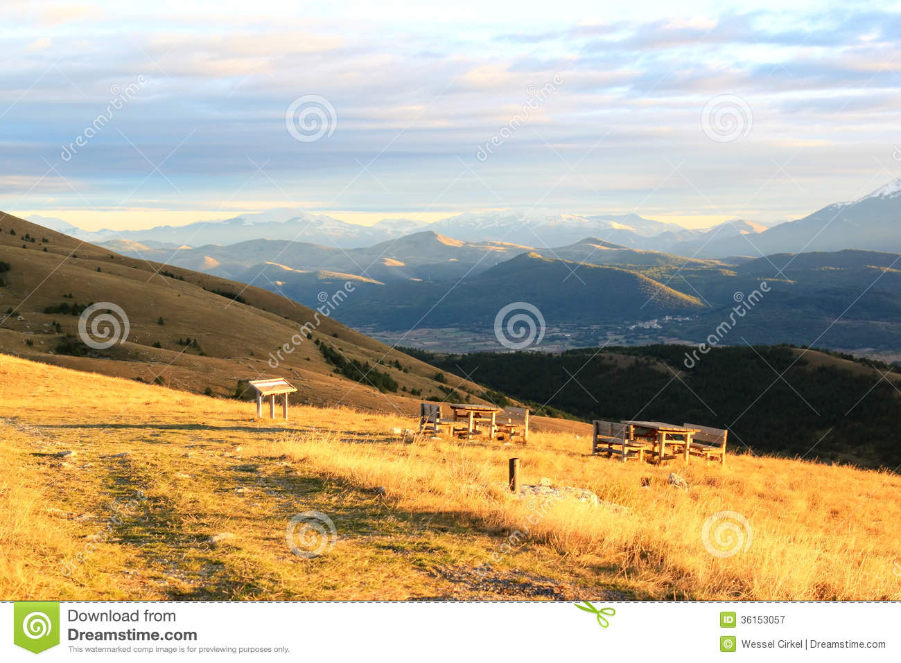 Picnic-tables In The Mountains Of Italy Royalty Free Stock ...