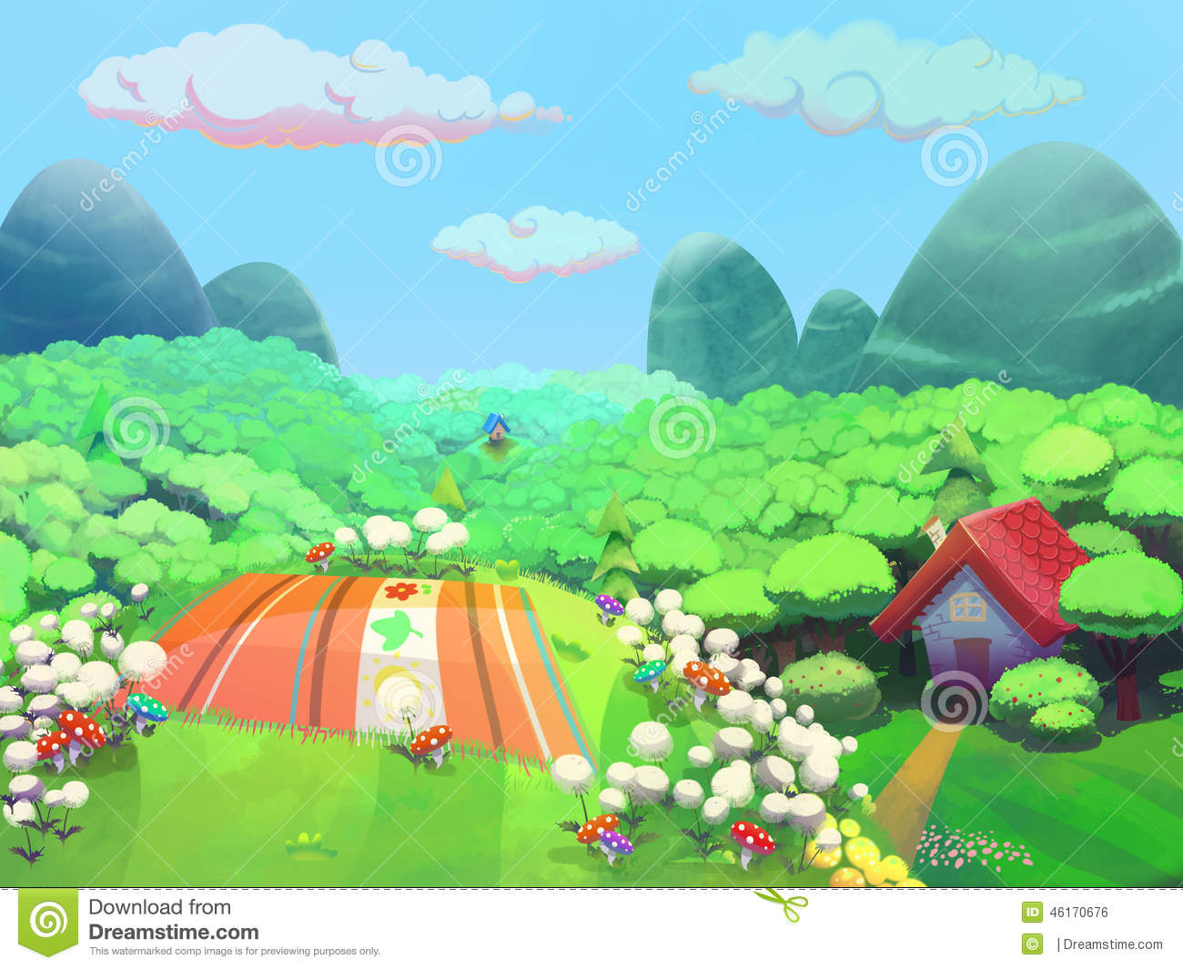 ... House Drawn In Cartoon Style Stock Illustration - Image: 46170676