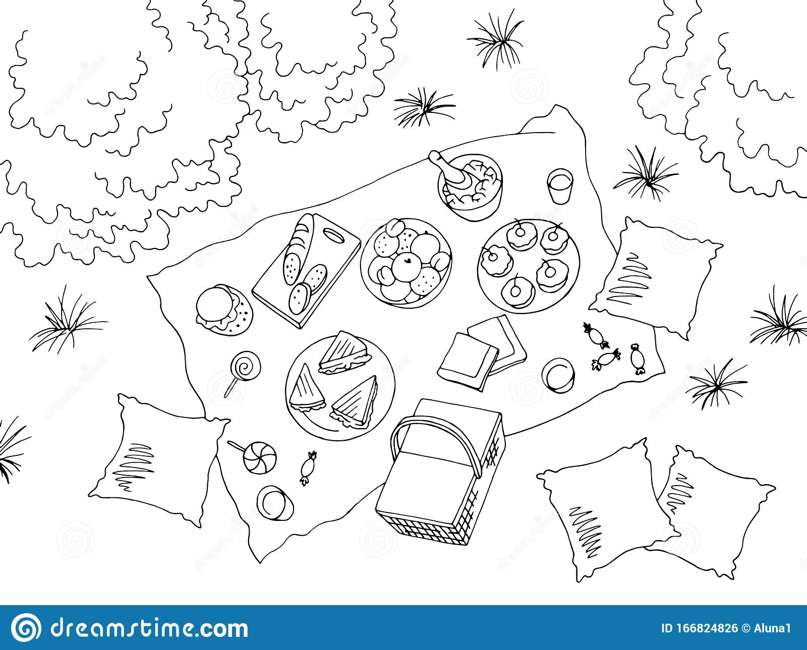 20+ Picnic And Pool Day Clipart Black And White