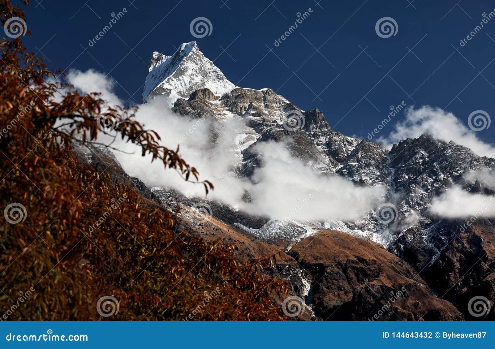 Pico nevado en Himalaya