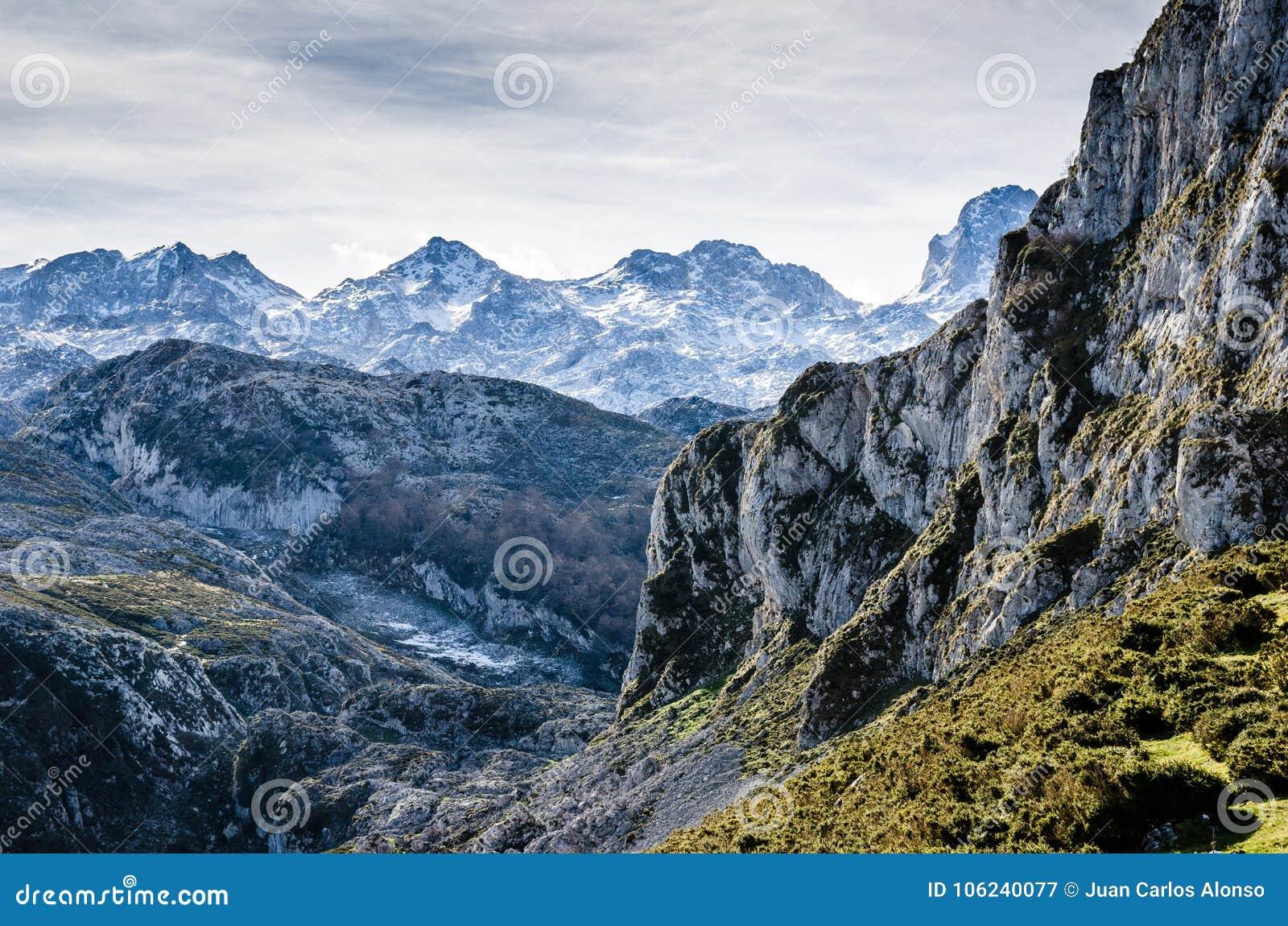 Picos de Europa, Asturie Montagne taglienti coperte da neve