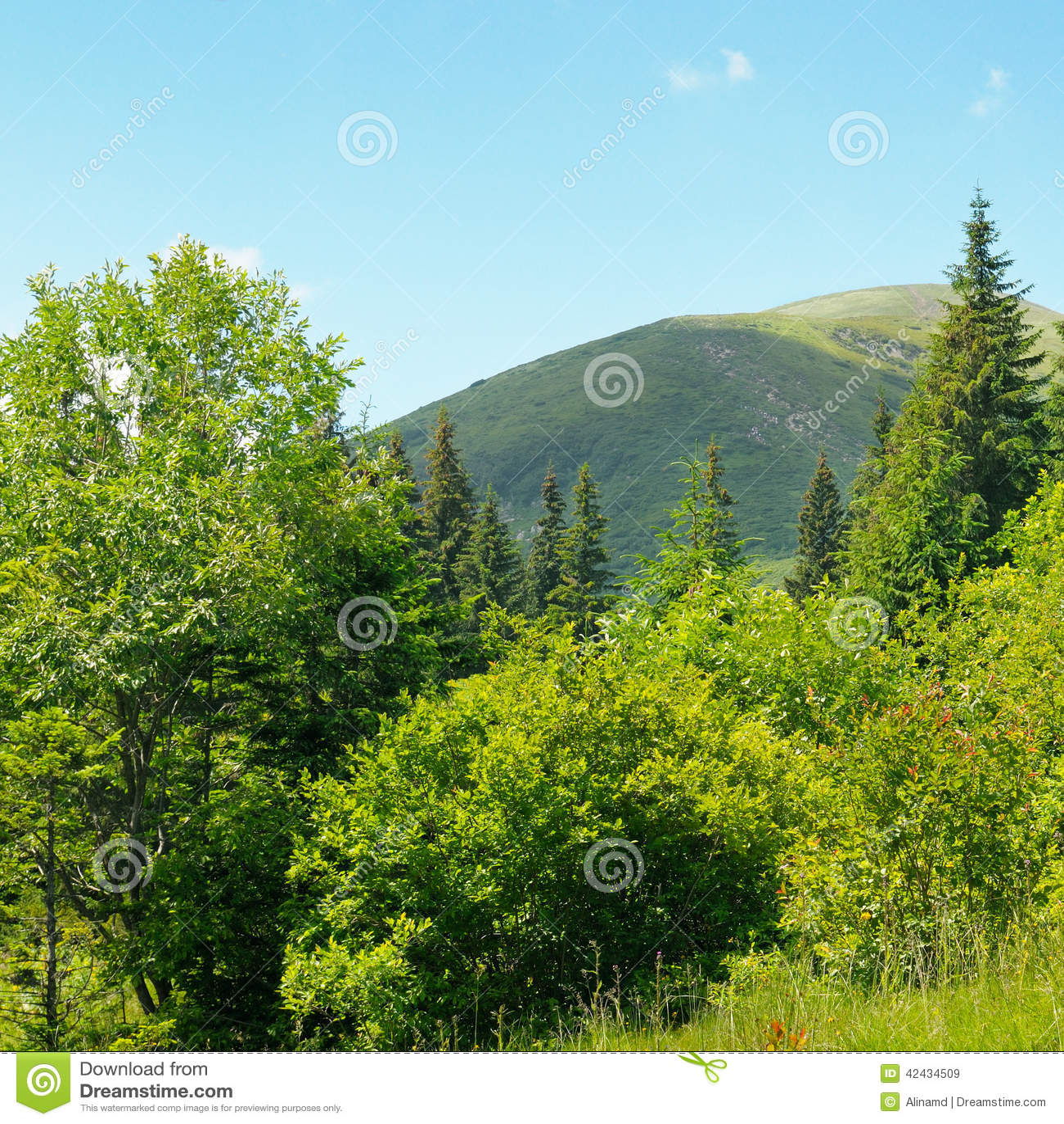 Picos de montaña contra el cielo azul