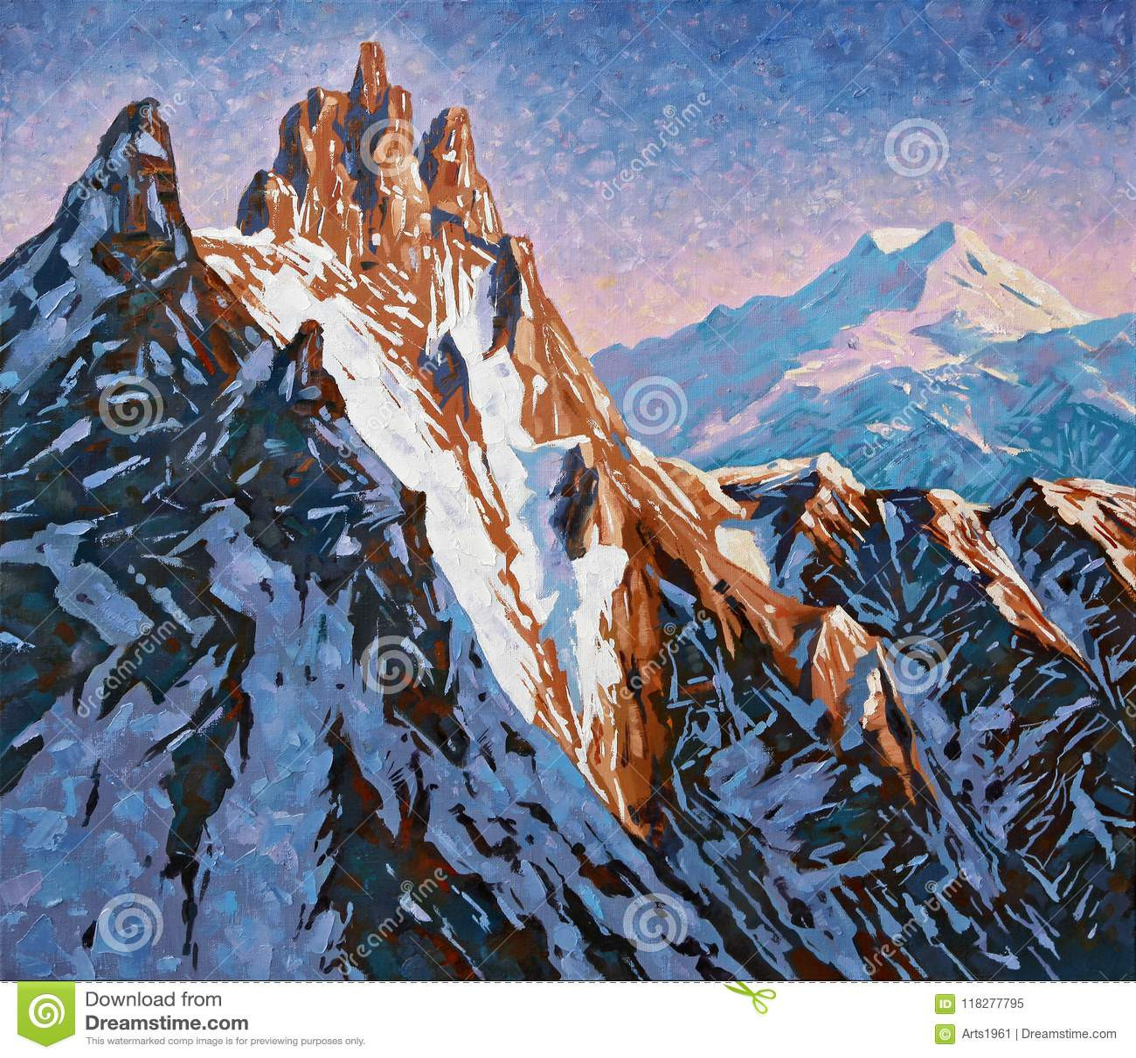 Picos de montanha do Cáucaso no alvorecer adiantado artwork
