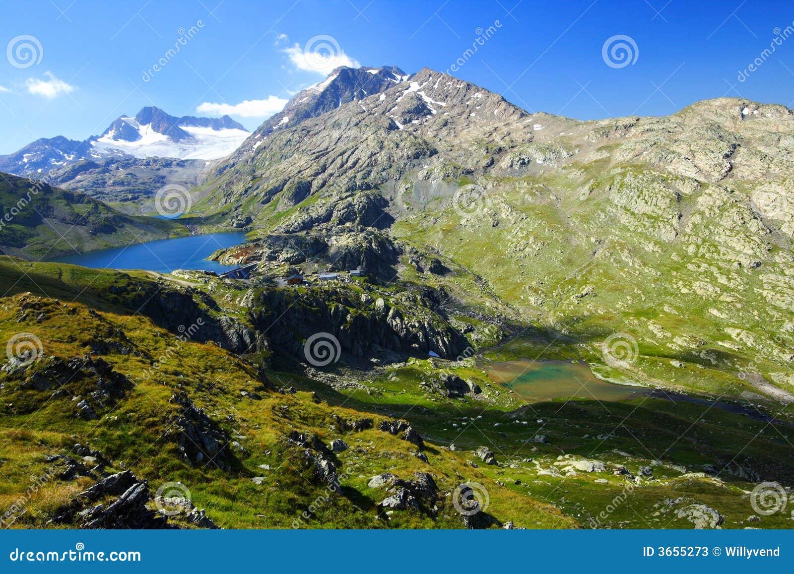 Picos de montanhas do verão