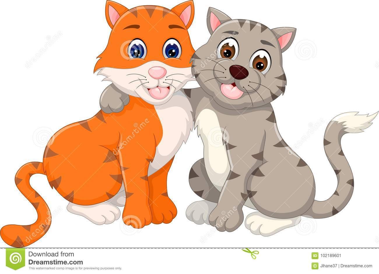 fcb41f79ab4 Sweet Cat Couple Cartoon Hugging With Smile Stock Illustration ...