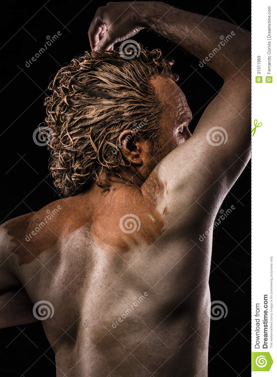 Muscular Naked Man Covered Paint Mud Stock Photo (Edit Now