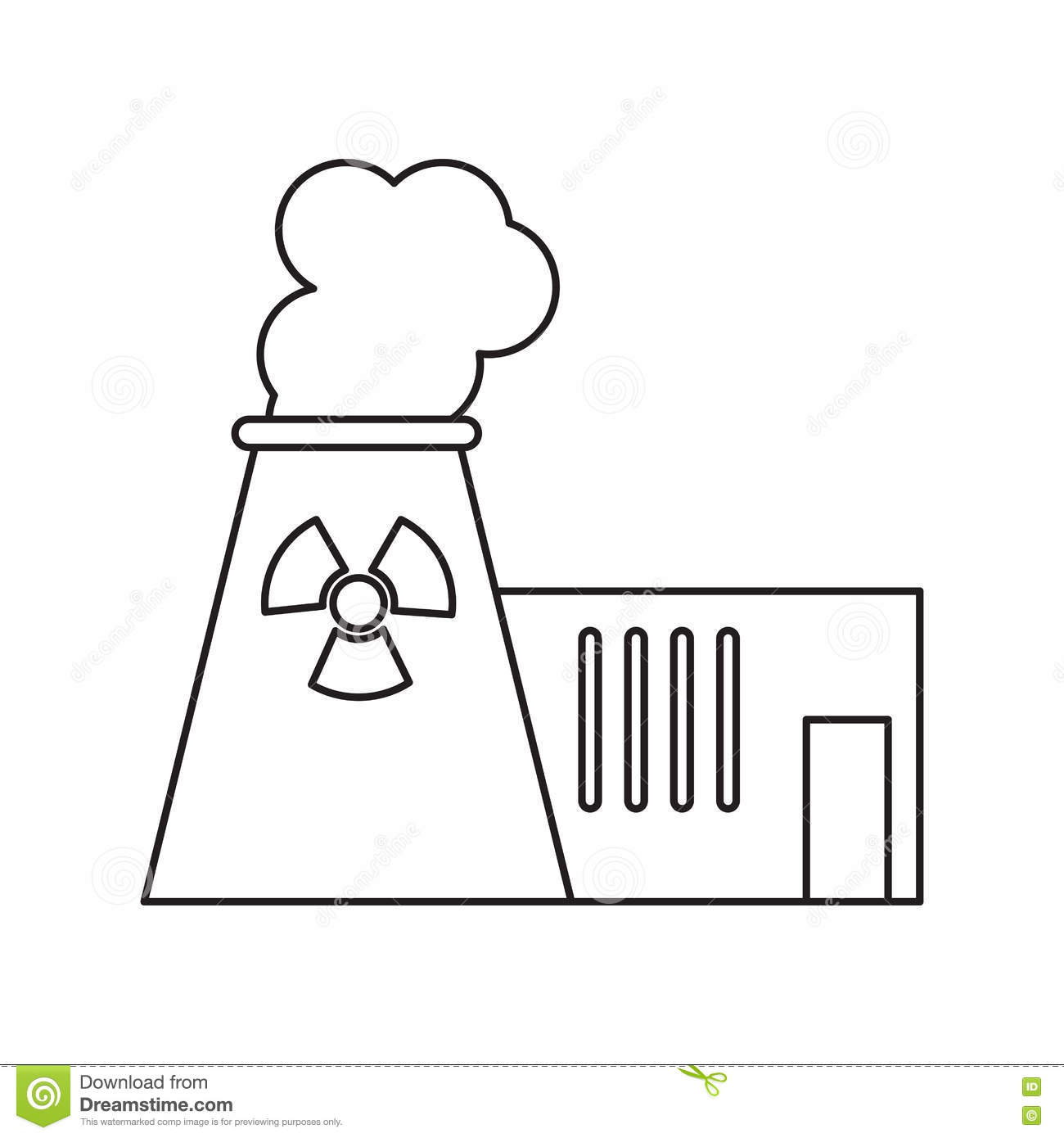 Pictograh Nuclear Power Plant Tower Energy Stock Vector Line Diagram Download Illustration Of Isolated Dirty