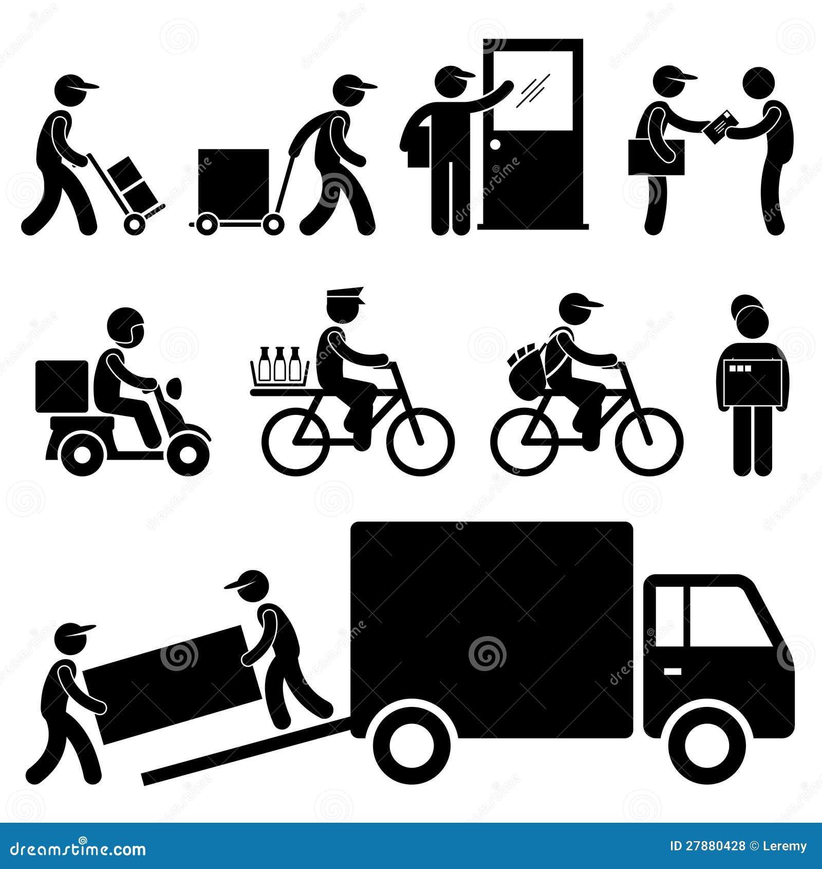 Pictogram столба курьера почтальона работника доставляющего покупки на дом