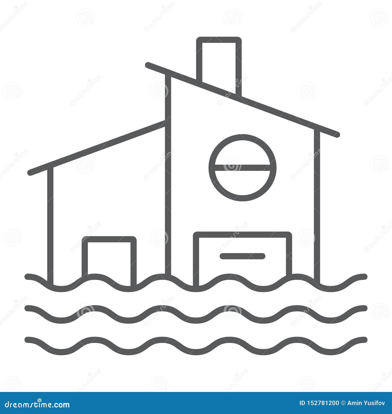 Pictogram, de ramp en het huis van de vloed overstroomden het dunne lijn, huisteken, vectorafbeeldingen, een lineair patroon op e