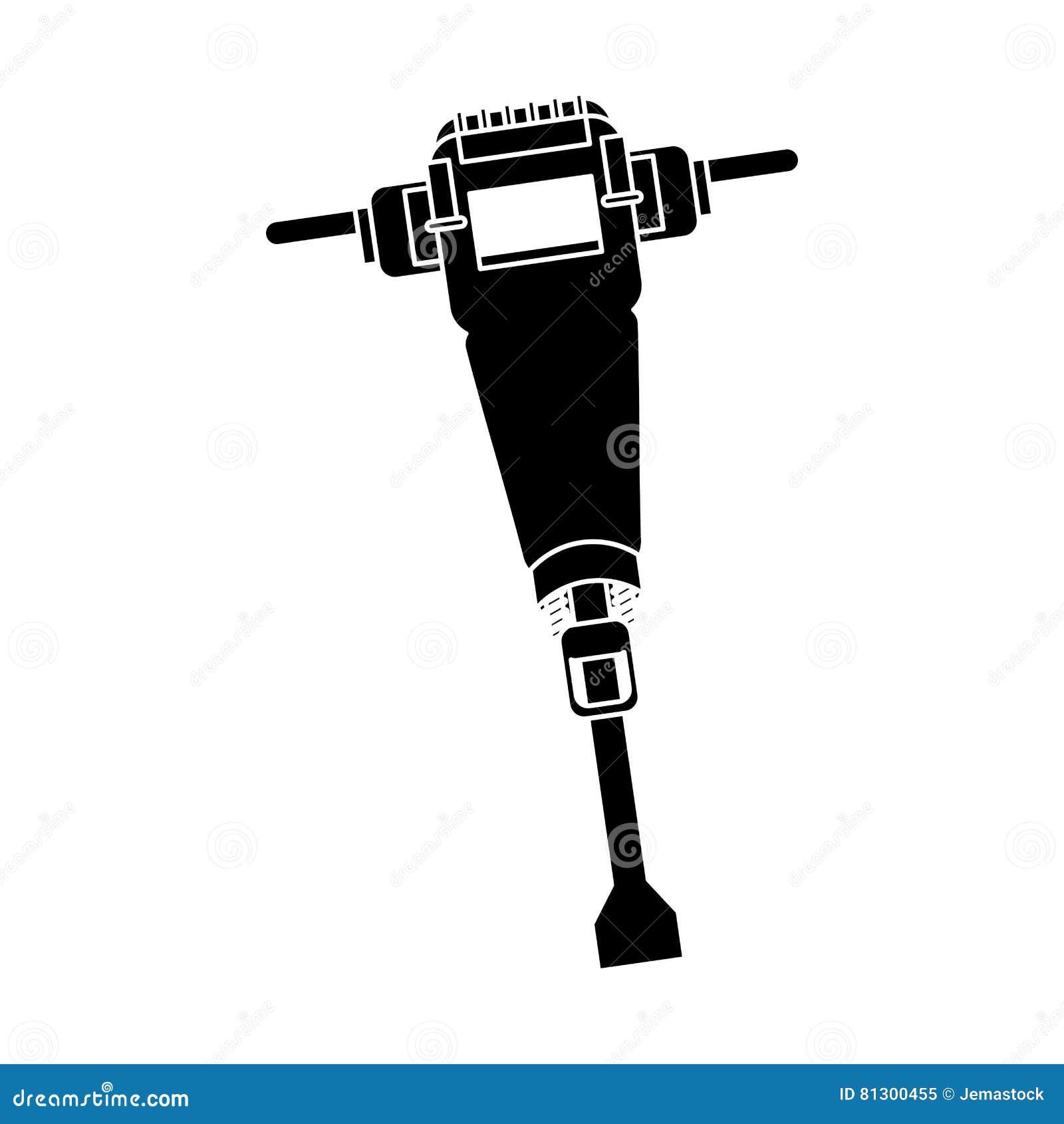 Pictogram för design för tryckluftsborrkonstruktionshjälpmedel