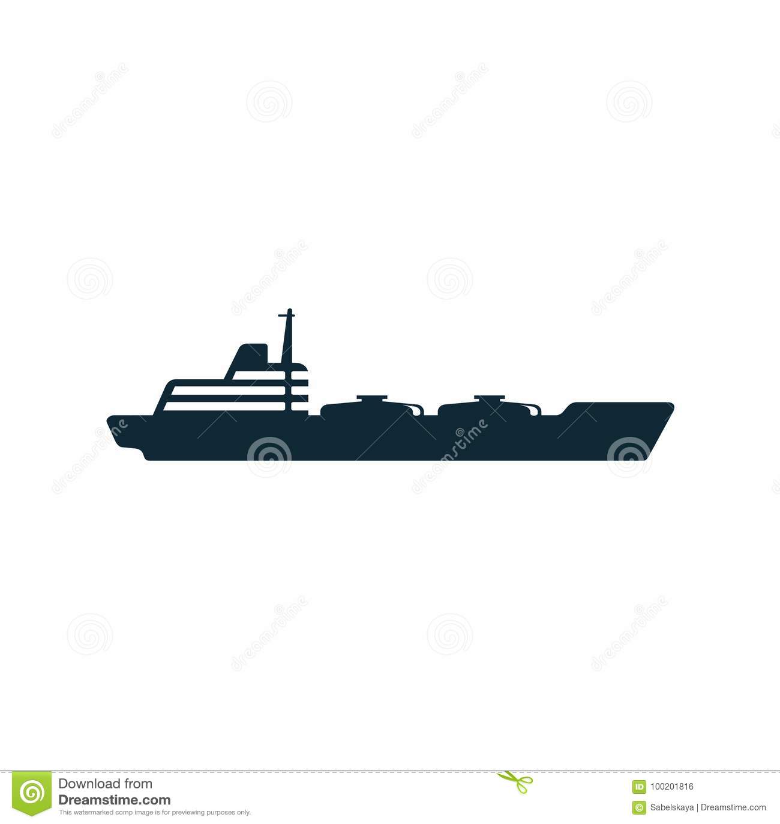 Pictogram för symbol för lägenhet för skepp för tankfartyg för olje- bränsle för vektor
