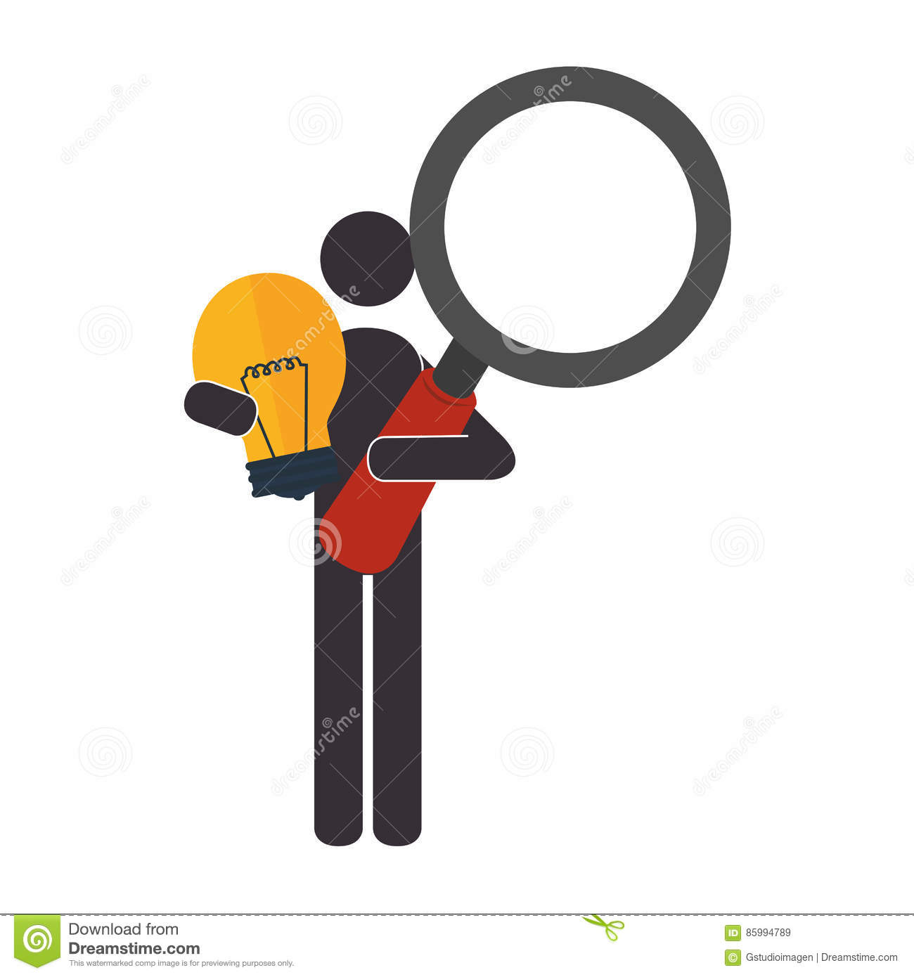 Pictogram With Light Bulb And Loupe Stock Vector Image
