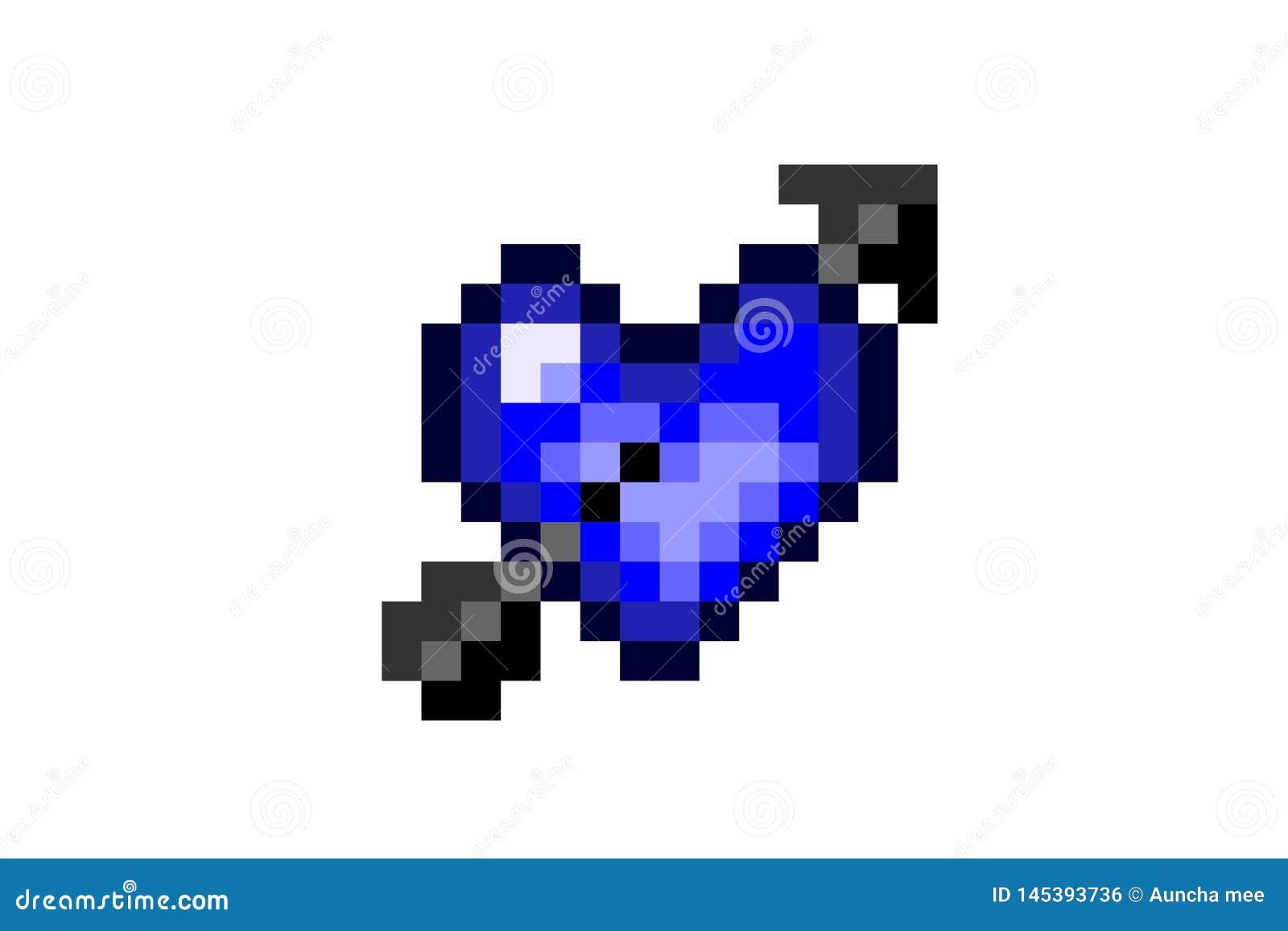Pictogram met 8 bits van het pixel het blauwe hart op witte achtergrond