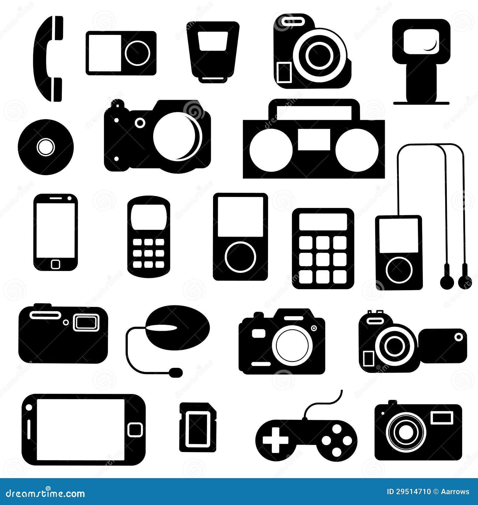 Pictogram met elektronische gadgets.