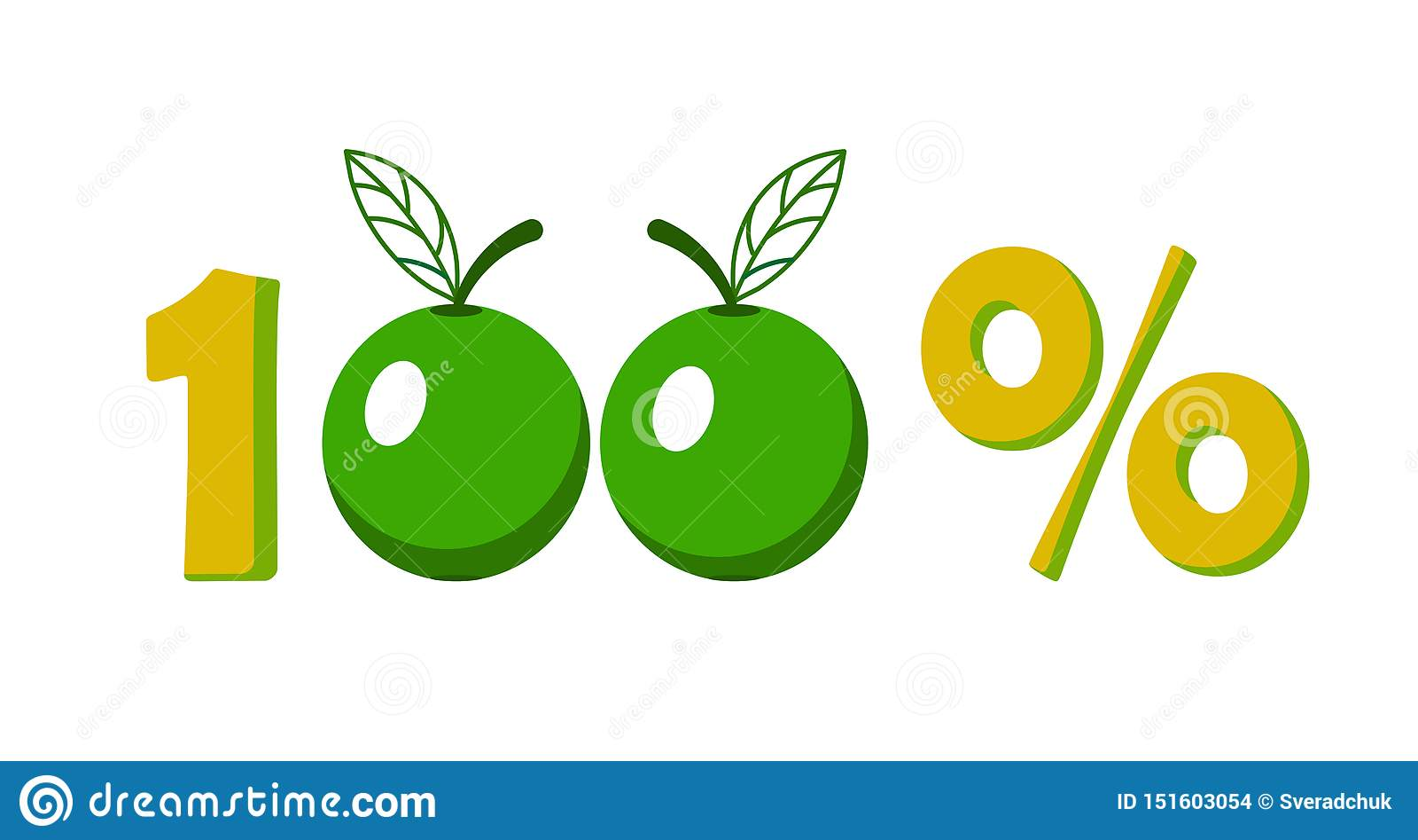Pictogram, symbool van de marketing van honderd percenten100  appel