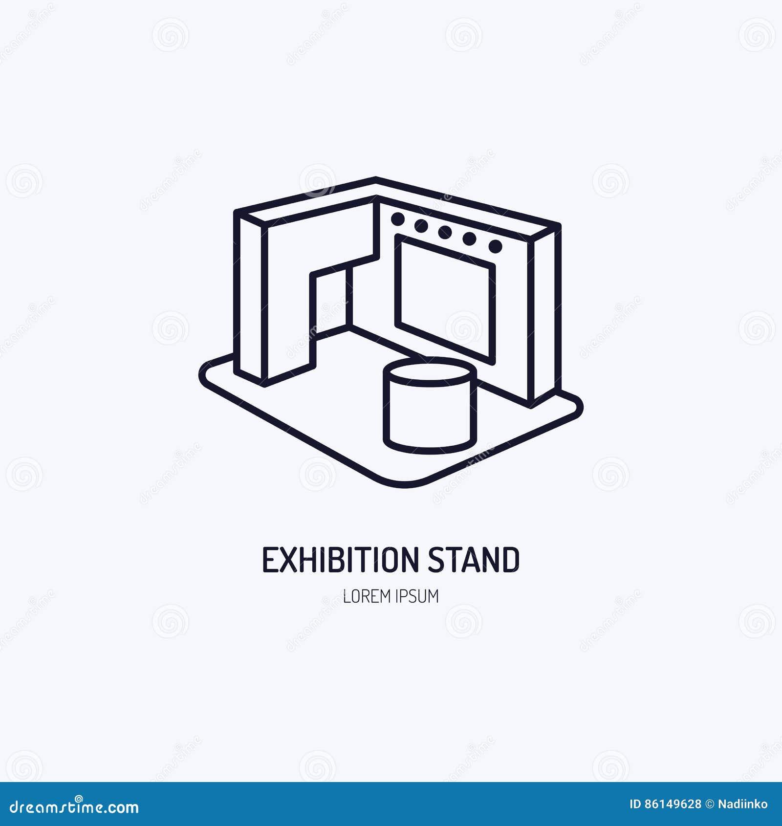 Pictogram van de de tribune het vectorlijn van de tentoonstellingsbanner Het Teken van de reclame