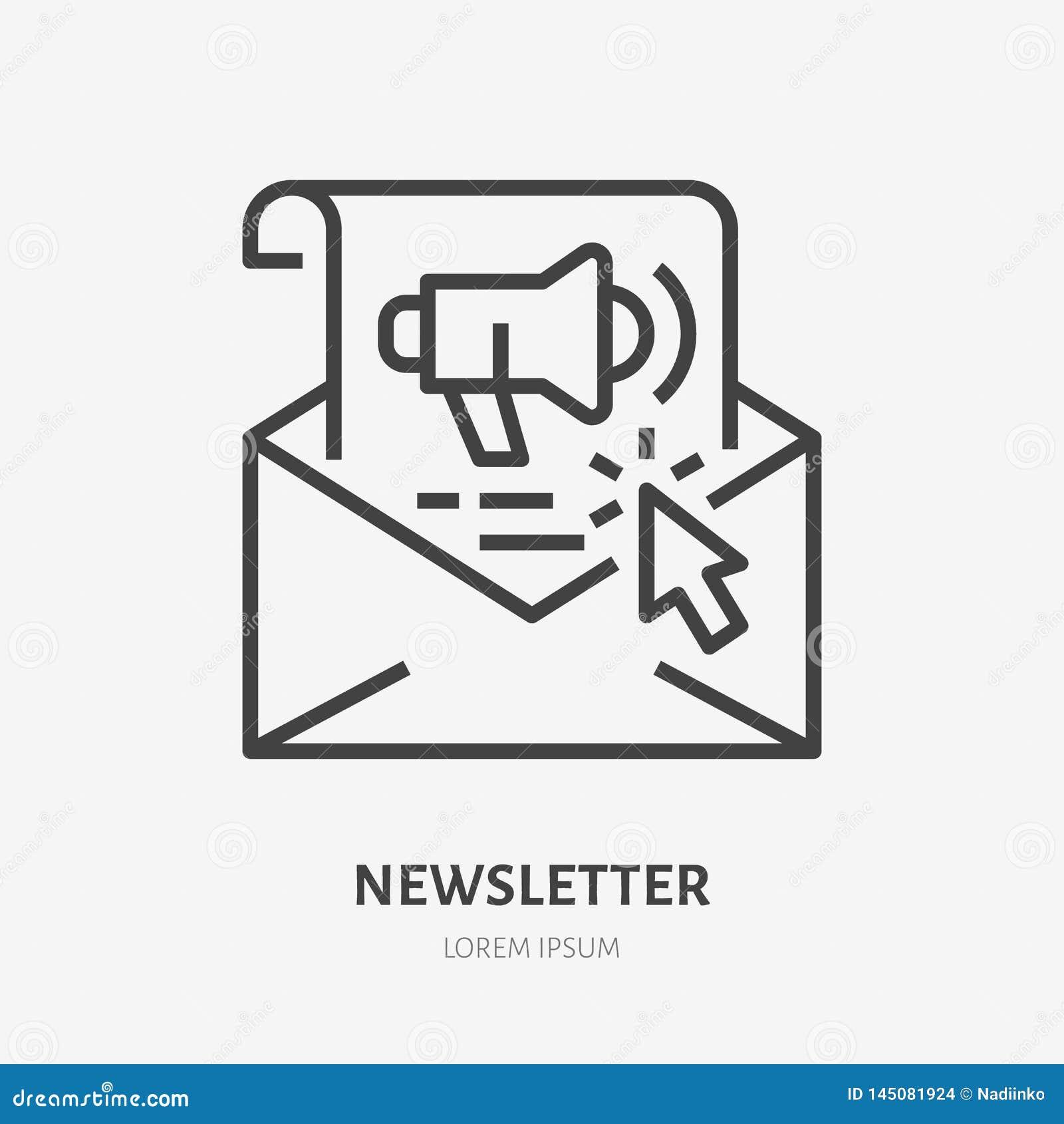 Pictogram van de e-mailbulletin het vlakke lijn Copywriting, illustratie van het verkopen van tekst voor post Verdun teken van ve