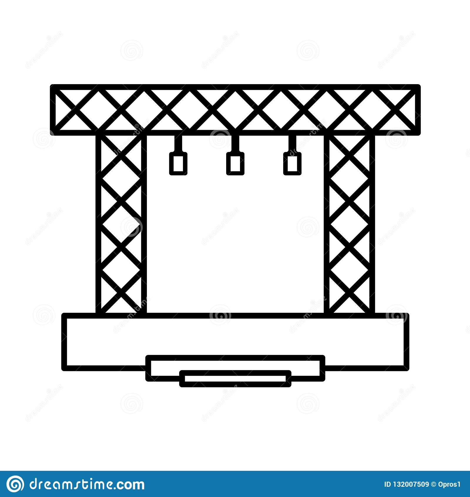 Pictogram van de stadium het vectorbouw Lijn van de overleg de moderne scène