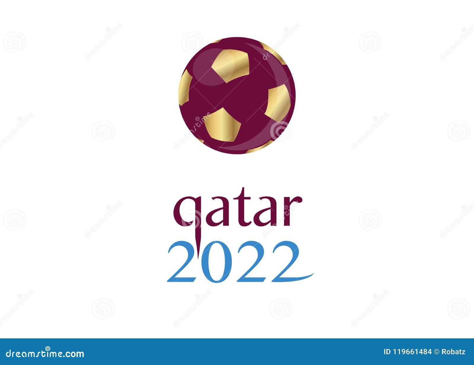 Pictogram van het de voetbalvoetbal van 2022 het gouden van Qatar, vector abstract bannerembleem voor de achtergrond van het de W