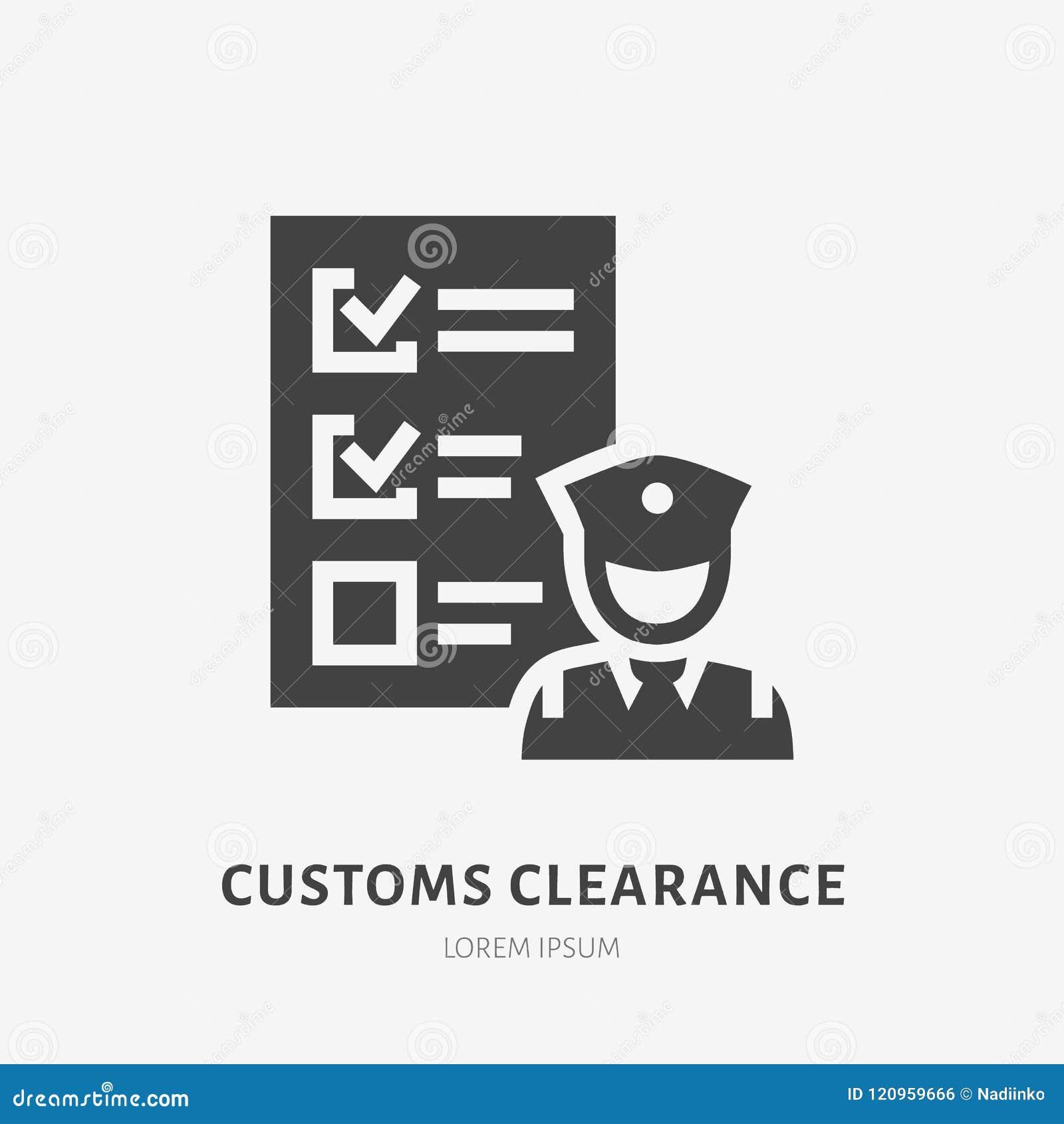 Pictogram van inklarings het vlakke glyph Politieagent het inspecteren bagageteken Stevig silhouetembleem voor lading die, vracht