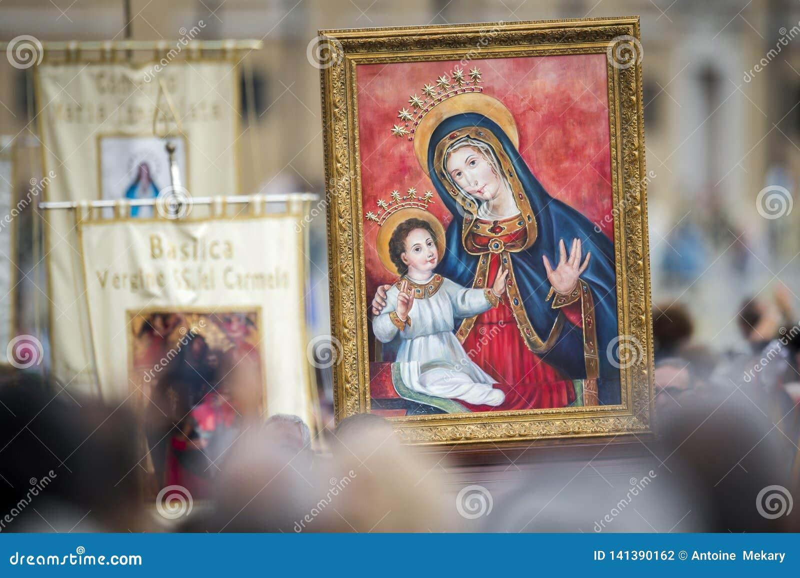 Pictogram van onze Dame Mary en Jesus Child