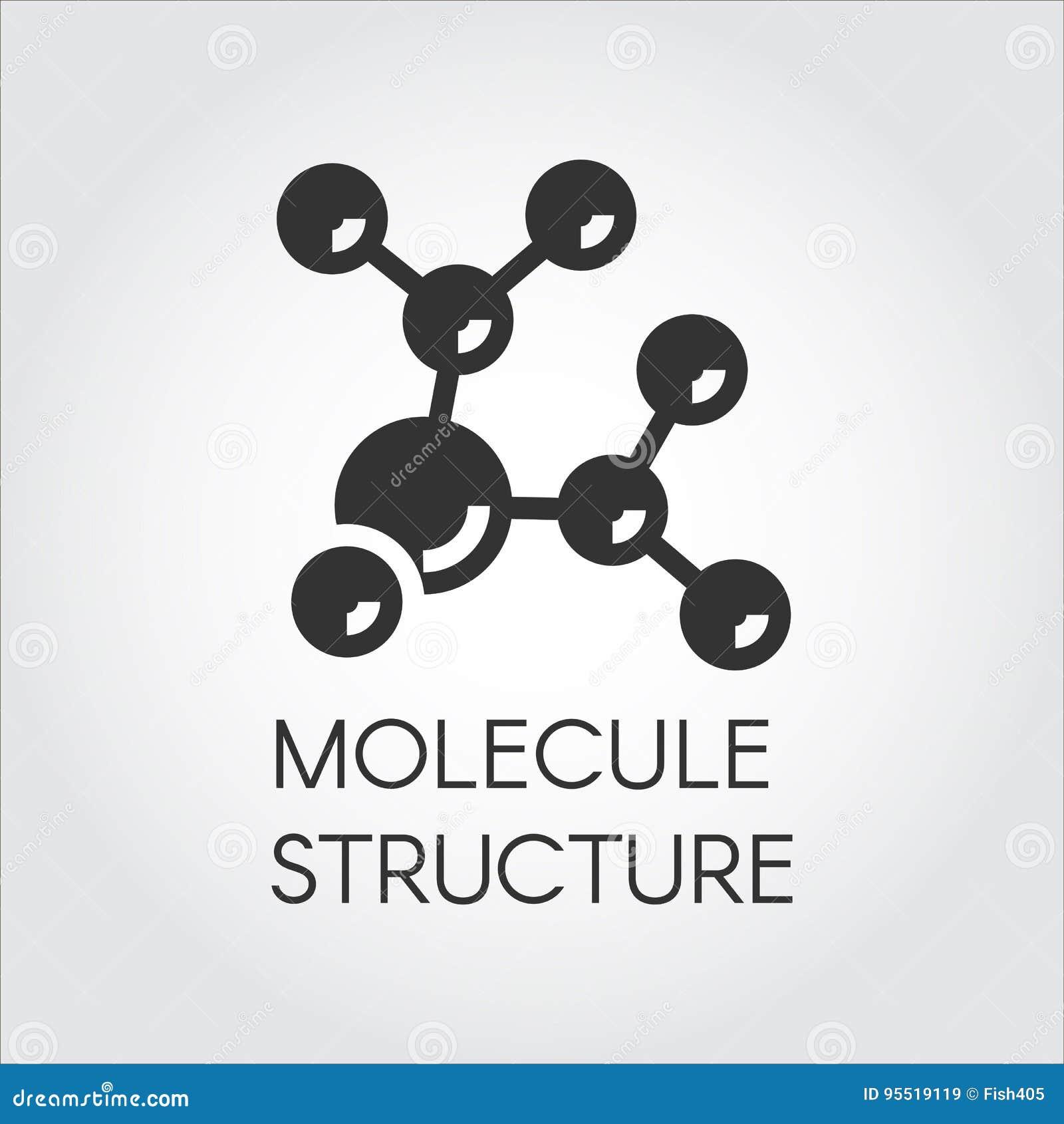 Pictogram in vlak ontwerp van abstracte moleculaire structuur Chemisch samenstellings zwart embleem Vector illustratie