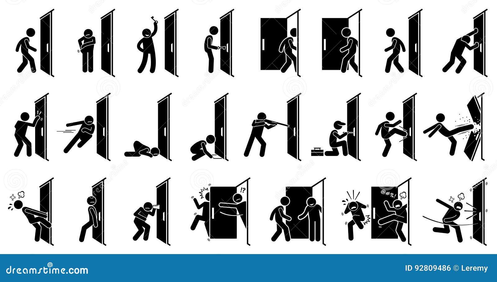 Pictograma do homem e da porta