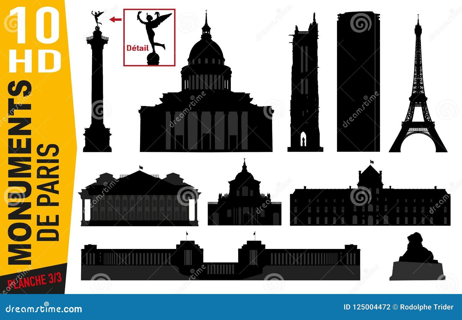 Pictograma do número de placa 3 de monumentos parisienses com a grelha, o panteão ou montparnasse