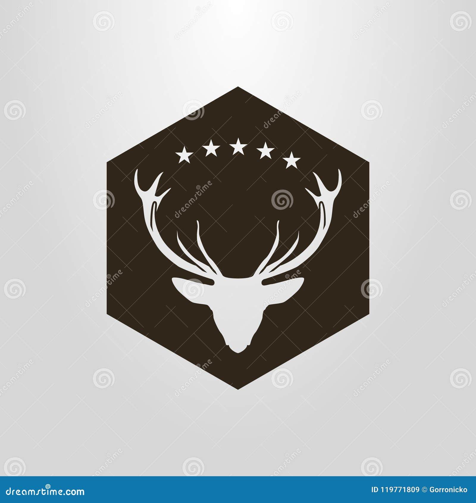 Pictograma negativo del espacio del vector simple de la cabeza de los ciervos debajo de las cinco estrellas en un marco del hexág
