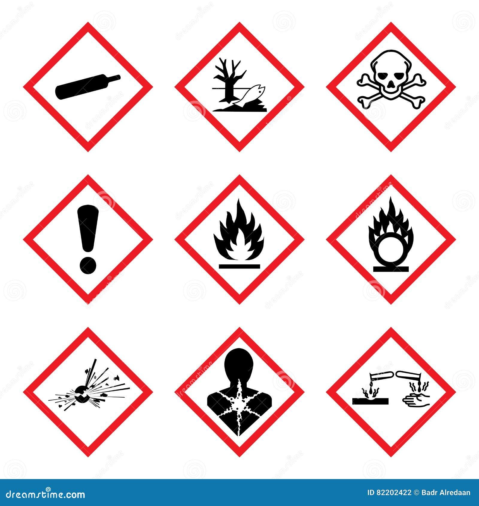 Pictograma novo do perigo de GHS 9 Sinal de aviso WHMIS do perigo, ilustração isolada do vetor