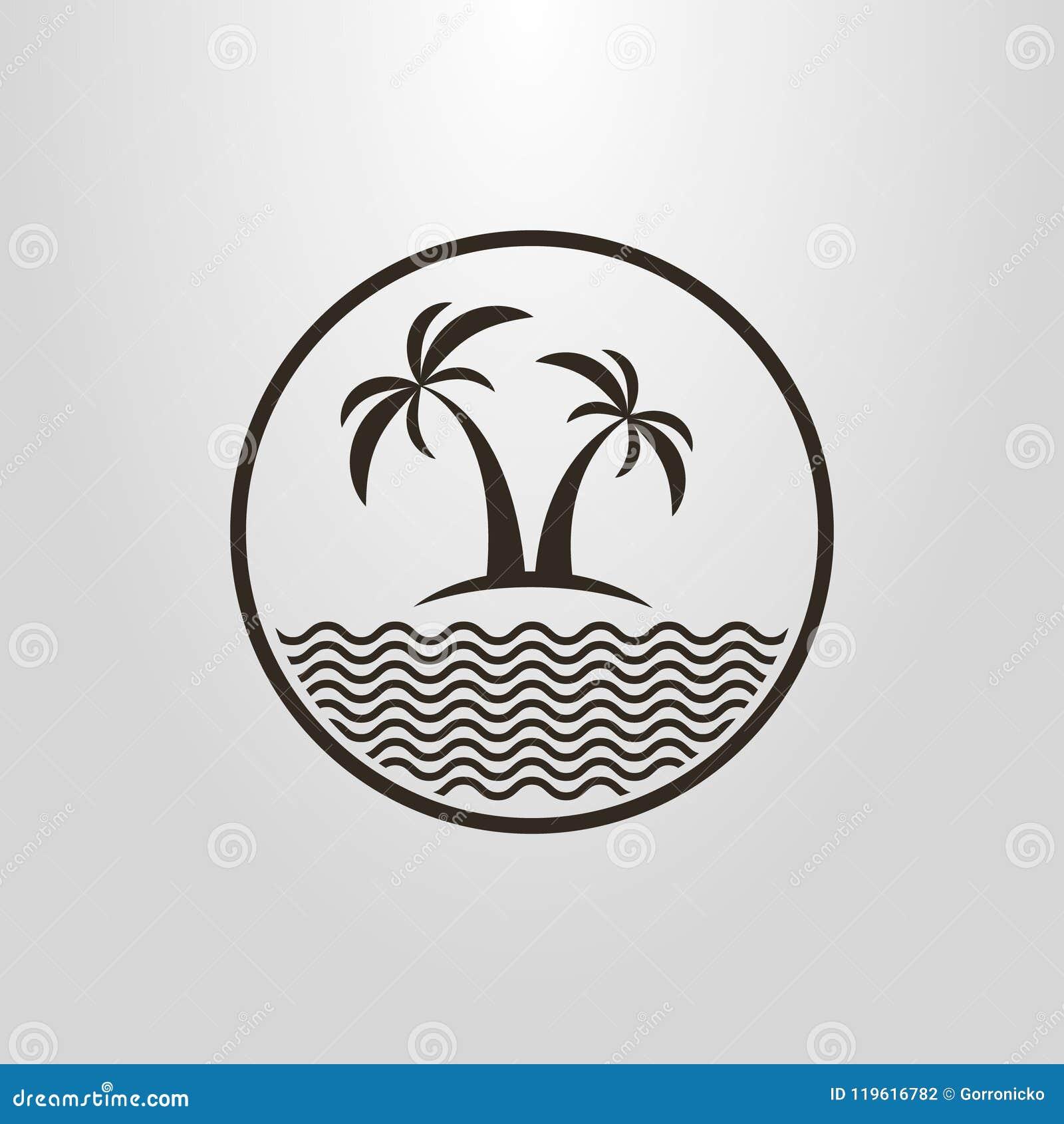 Pictograma simple del vector de dos palmeras y un mar en un marco redondo