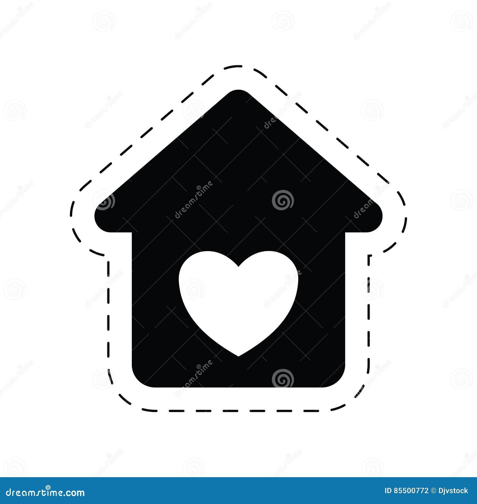 pictogramme roman d 39 ornement d 39 amour la maison de coeur illustration stock image 85500772. Black Bedroom Furniture Sets. Home Design Ideas