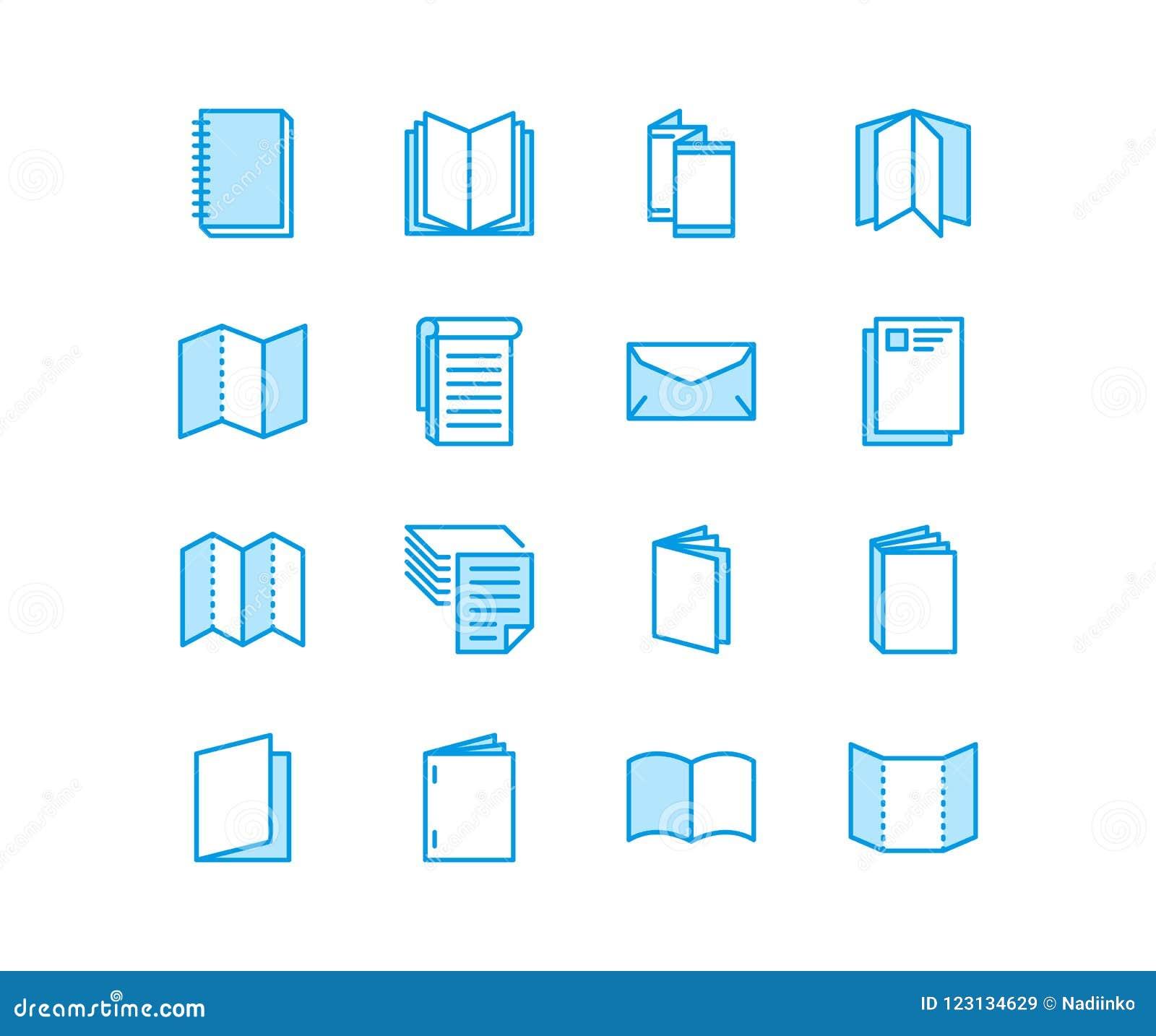Pictogrammen van de brochure de vlakke lijn Bedrijfsidentiteits vectorillustraties - briefhoofd, boekje, vlieger, collectief pamf