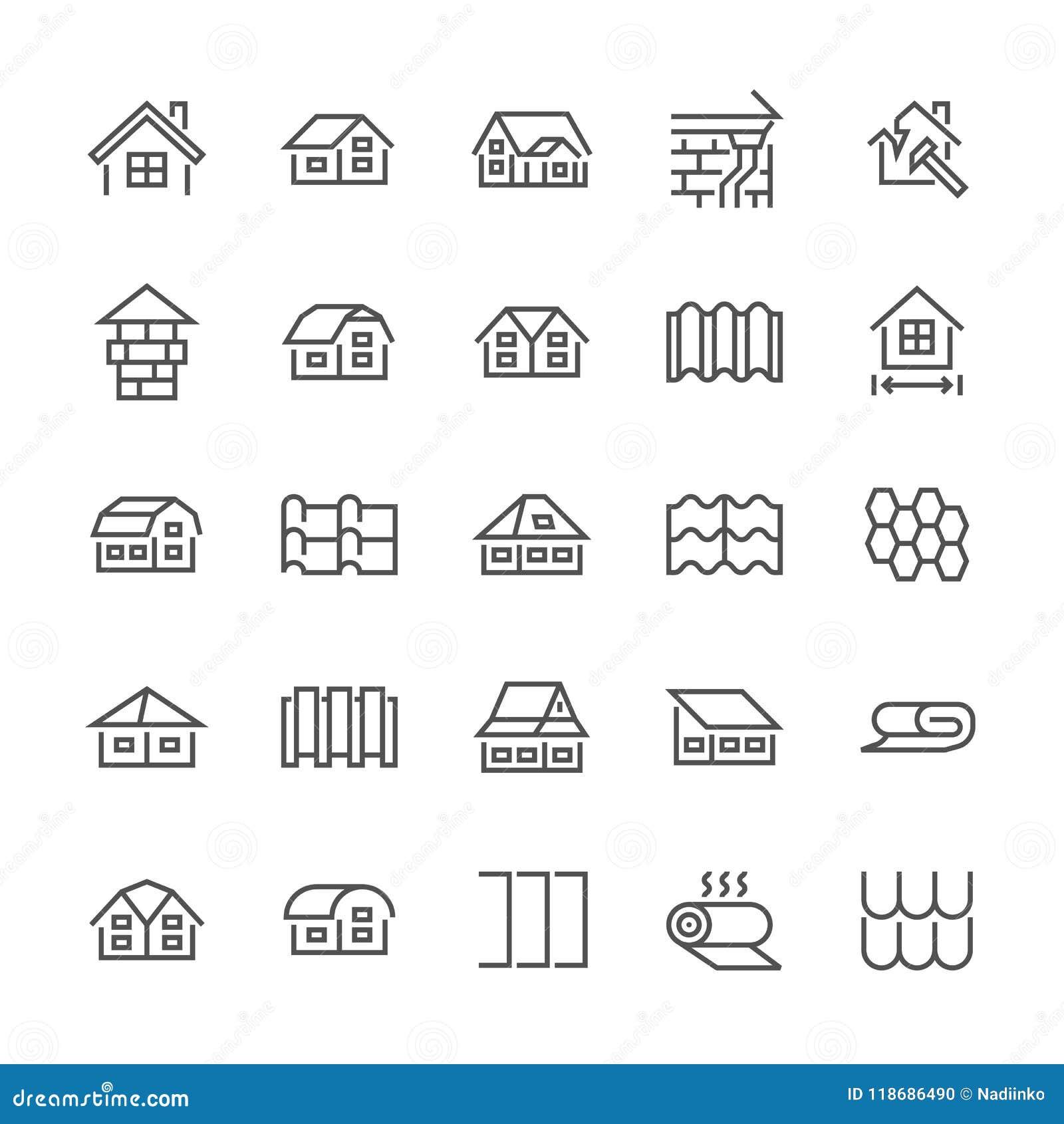 Pictogrammen van de dakwerk de vlakke lijn Huisbouw, daken die verscheidenheden, tegel, schoorsteen, isolatiearchitectuur in de s